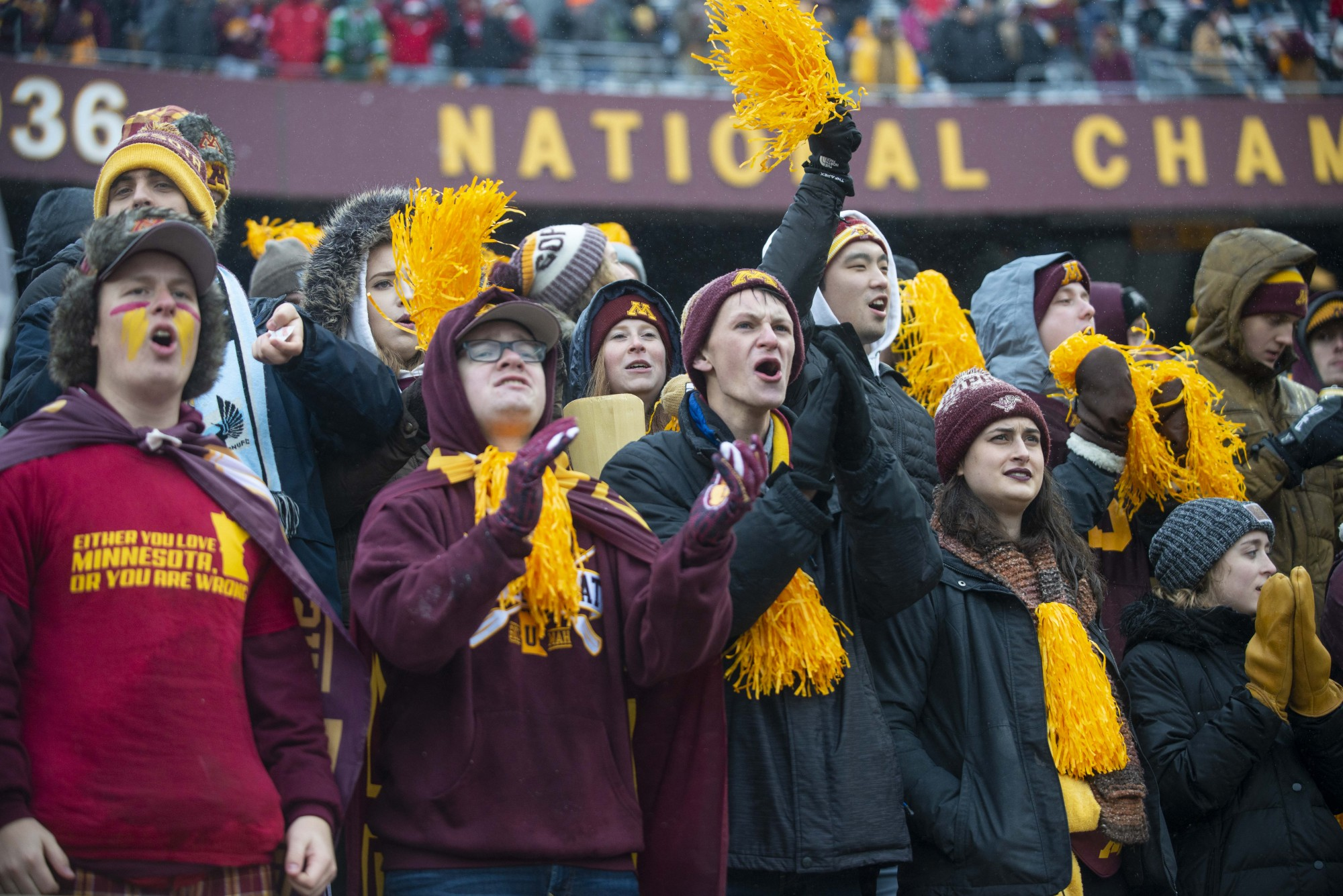 Fans cheer during the Gopher game against the Badgers at TCF Bank Stadium on Saturday, Nov. 30.