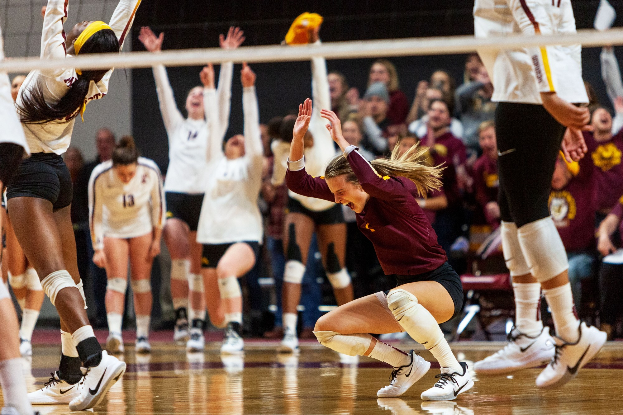 Libero CC McGraw celebrates a point at the Maturi Pavilion on Thursday, Nov. 14. The Gophers ended the night with a 3-1 loss against the Badgers.