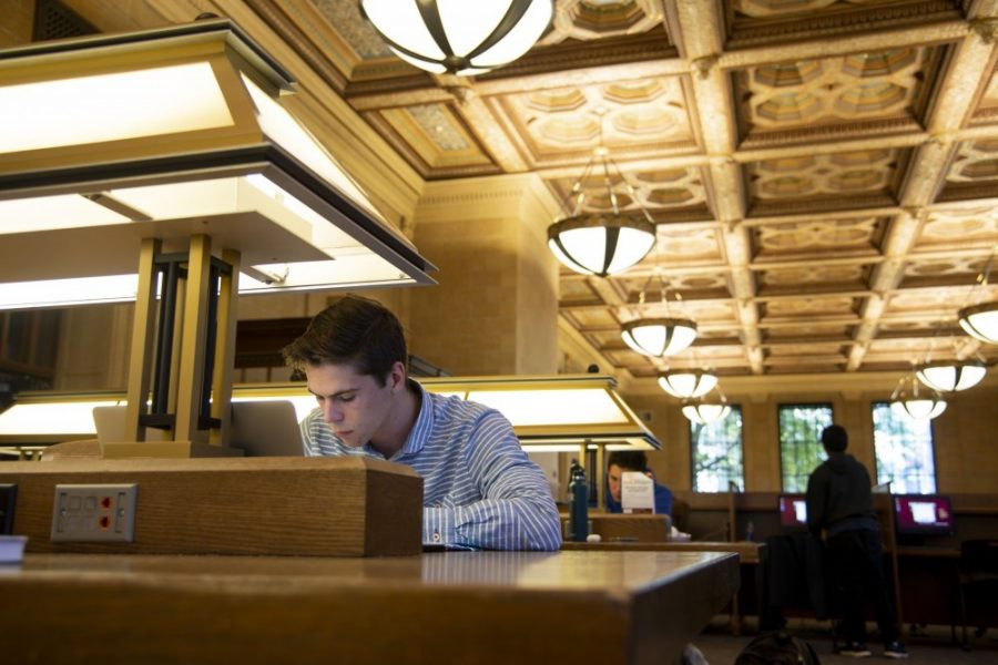 Sophomore Bradley Hartwyk works on an assignment in Walter Library on Friday, Oct. 26.