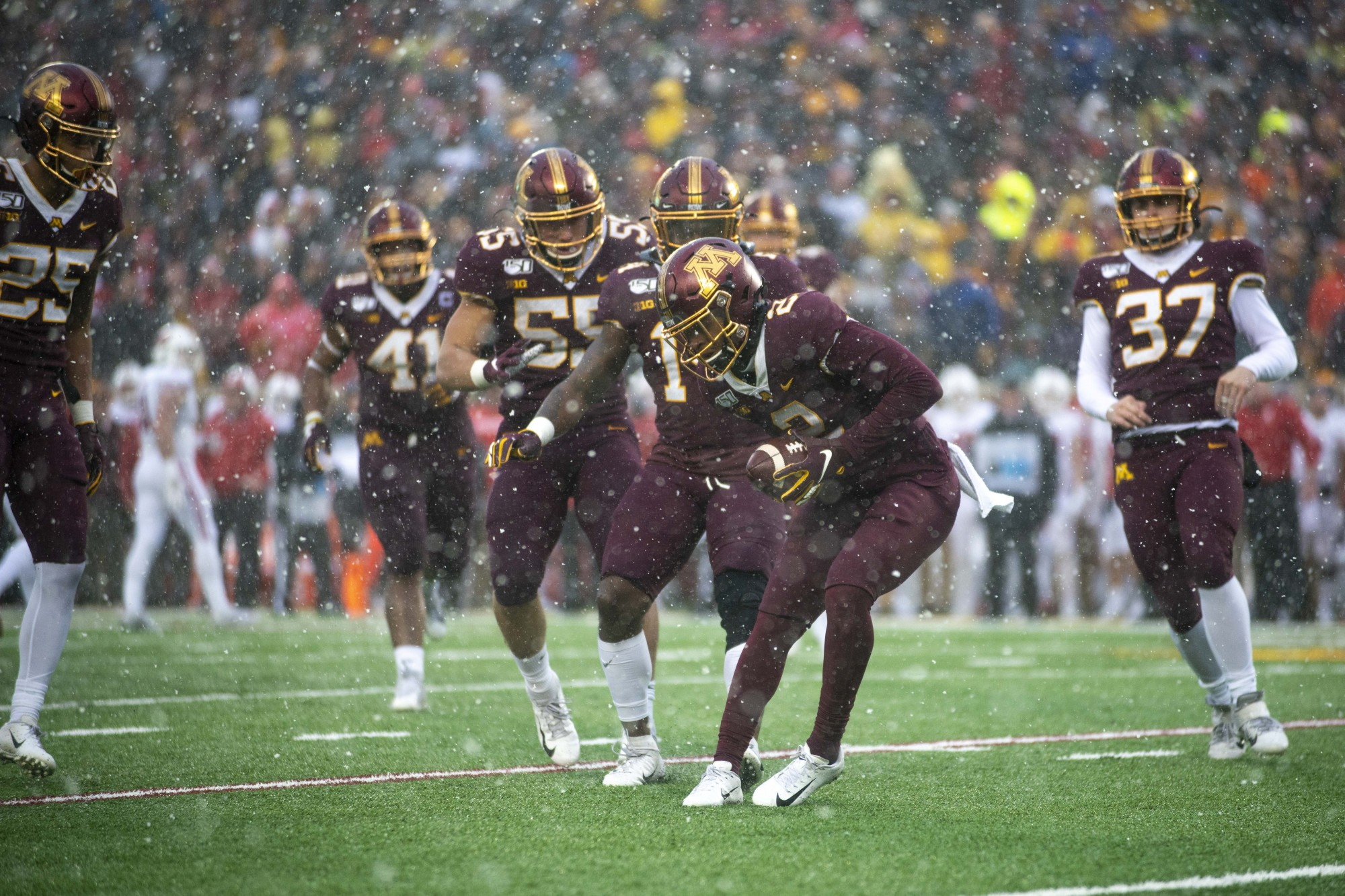 Defensive back Phillip Howard catches the ball during the game against the Badgers at TCF Bank Stadium on Saturday, Nov. 30.
