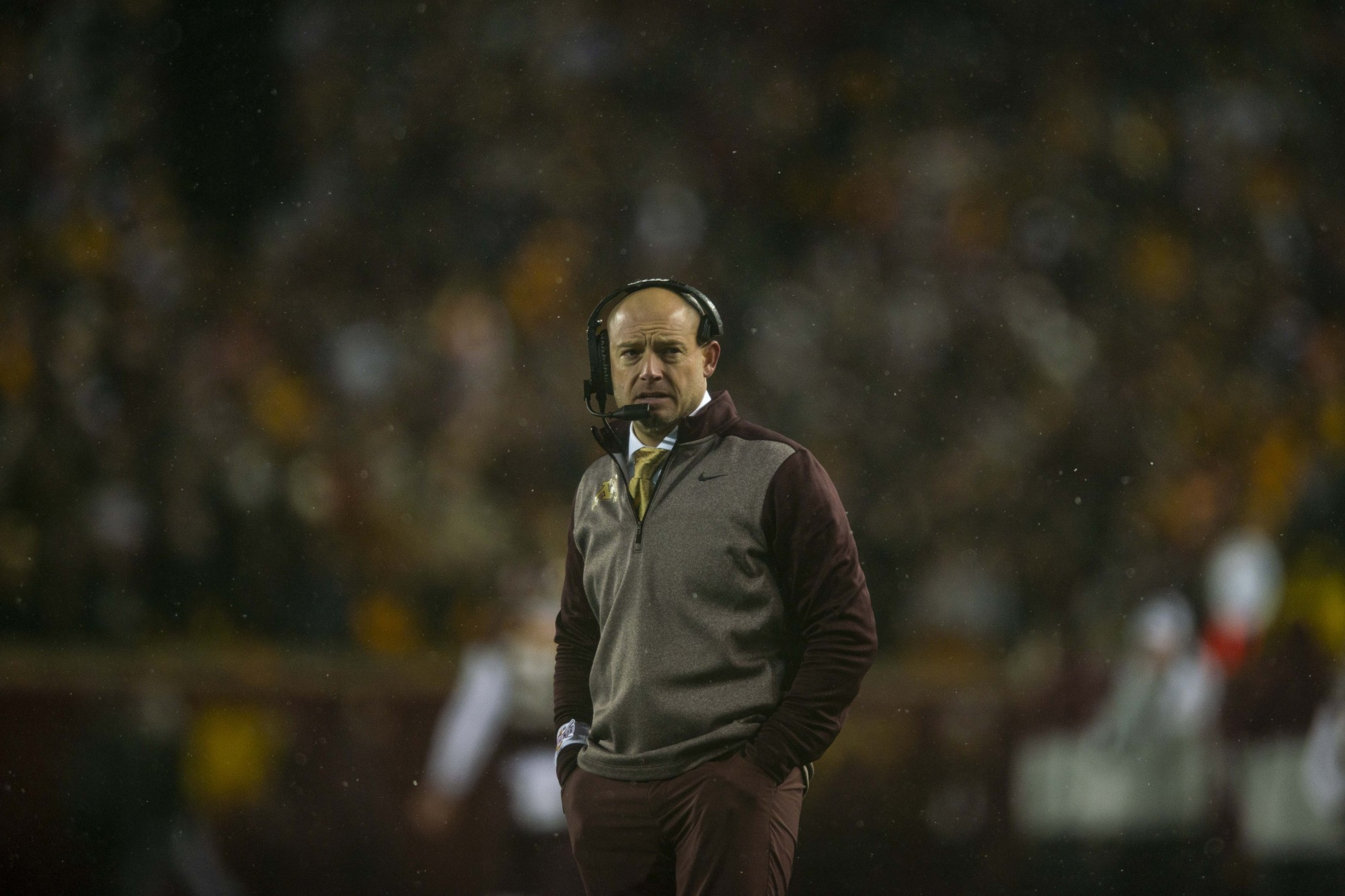 Head coach P.J. Fleck observes the game against the Badgers at TCF Bank Stadium on Saturday, Nov. 30. Wisconsin won 38-17 reclaiming Paul Bunyan's Axe.