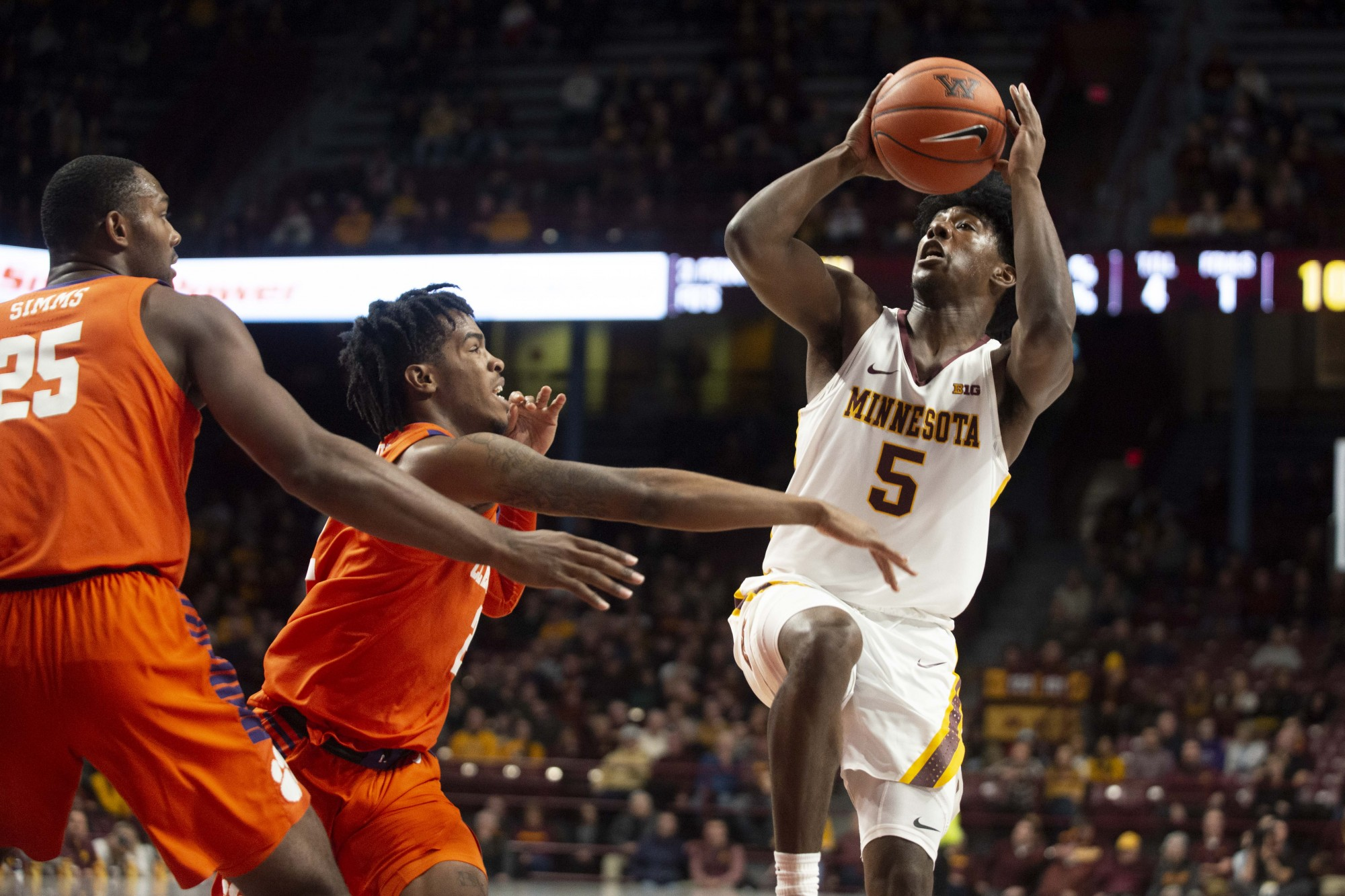 Guard Marcus Carr jumps to shoot the ball at Williams Arena on Monday, Dec. 2. The Gophers defeated Clemson 78-60.