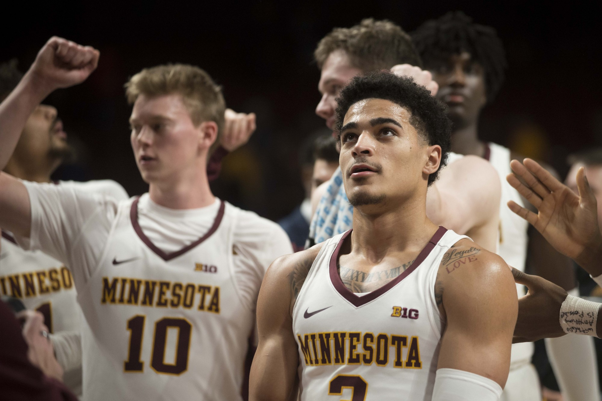 Guard Bryan Greenlee looks on from the sidelines at Williams Arena on Monday, Dec. 2.