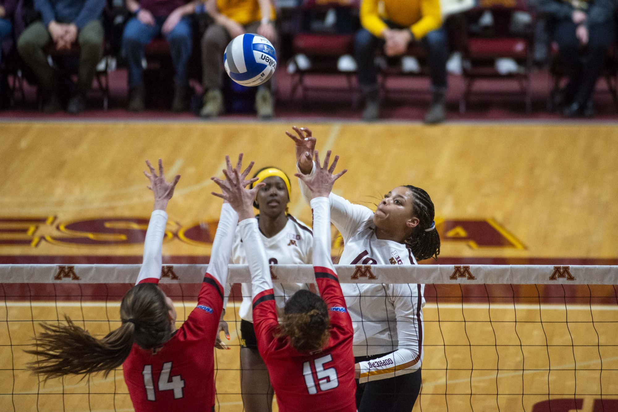 Outside hitter Alexis Hart pushes the ball over the net during the game against the Fairfield Stags in the first round of the NCAA tournament at the Maturi Pavilion on Friday, Dec. 6.