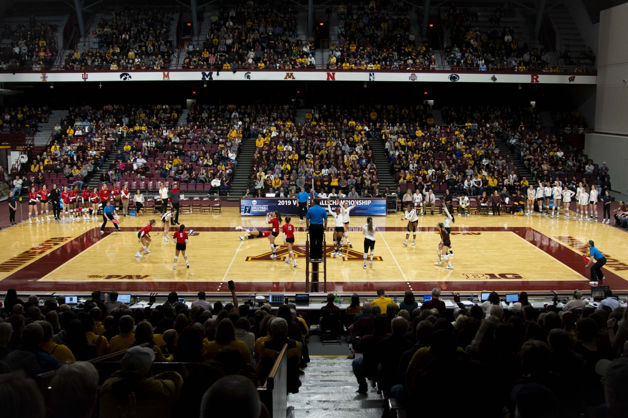 The Gophers celebrate a scored point during the game against the Fairfield Stags in the first round of the NCAA tournament at the Maturi Pavilion on Friday, Dec. 6.
