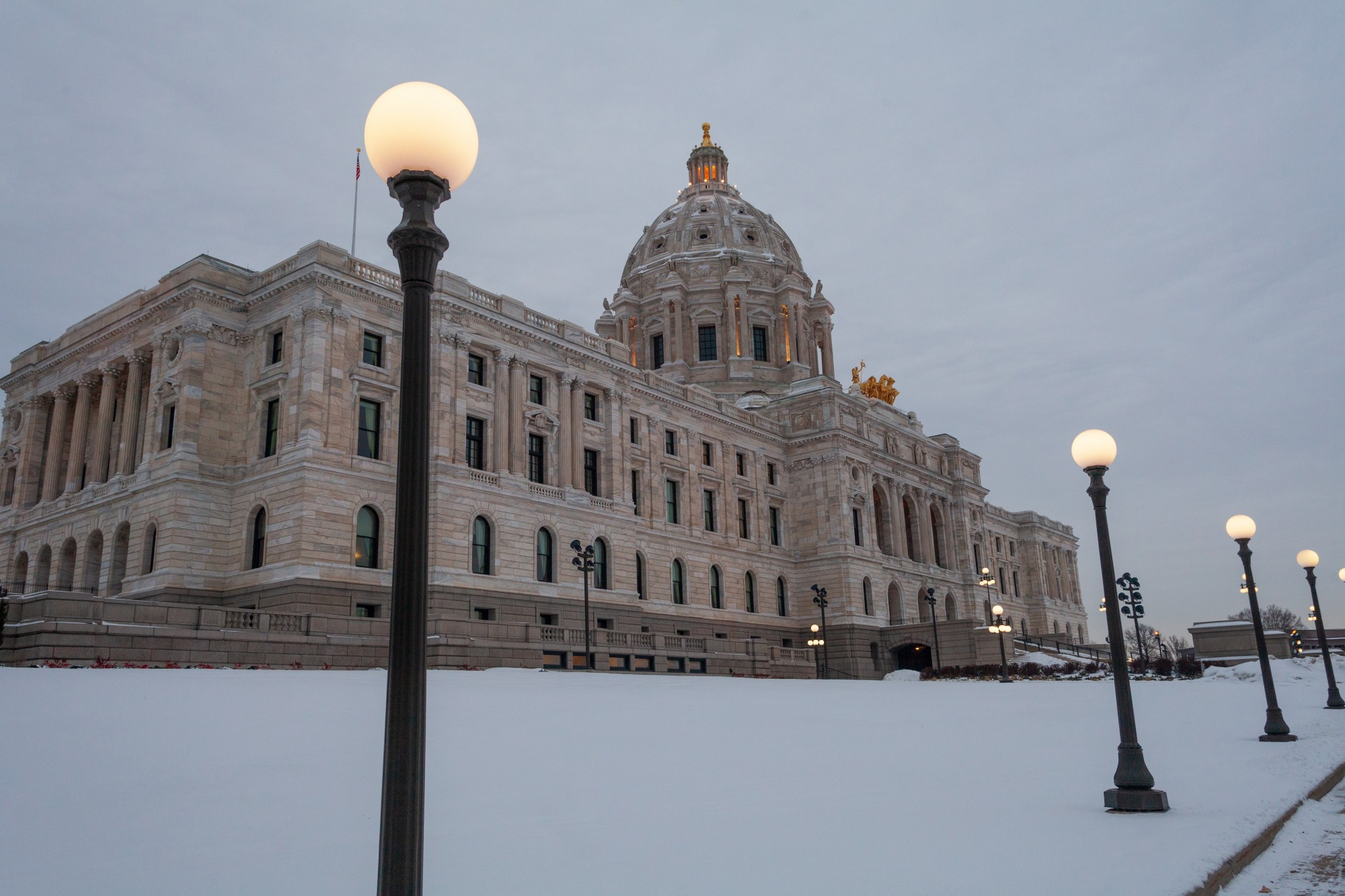 Dawn breaks over the Minnesota State Capitol Building on Wednesday, Jan. 15, 2020. (Kamaan Richards / Minnesota Daily)