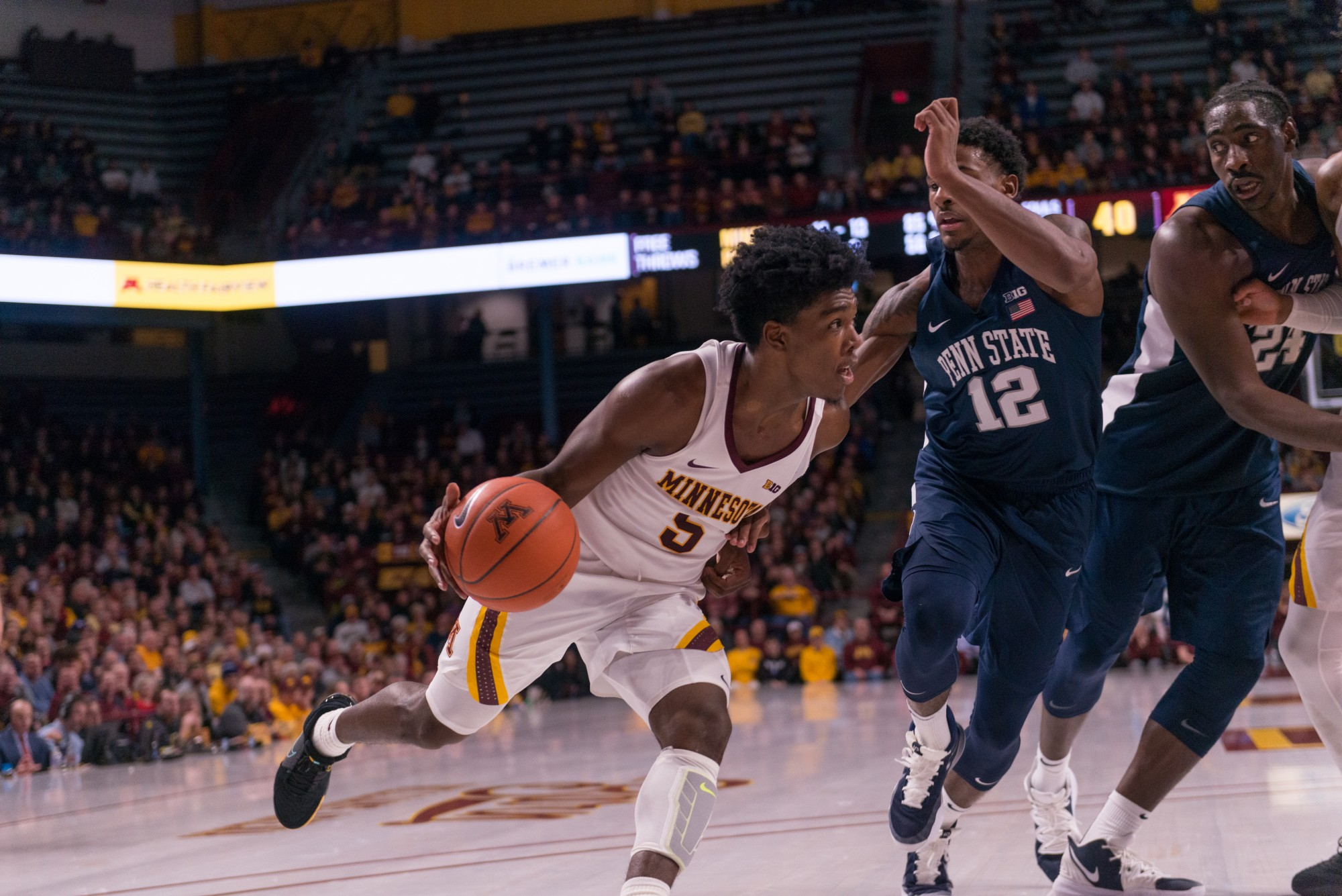Gophers Guard Marcus Carr drives past a defender at Williams Arena on Wednesday, Jan. 15.  Minnesota defeated the Penn State Nittany Lions 75-69. (Kamaan Richards / Minnesota Daily)