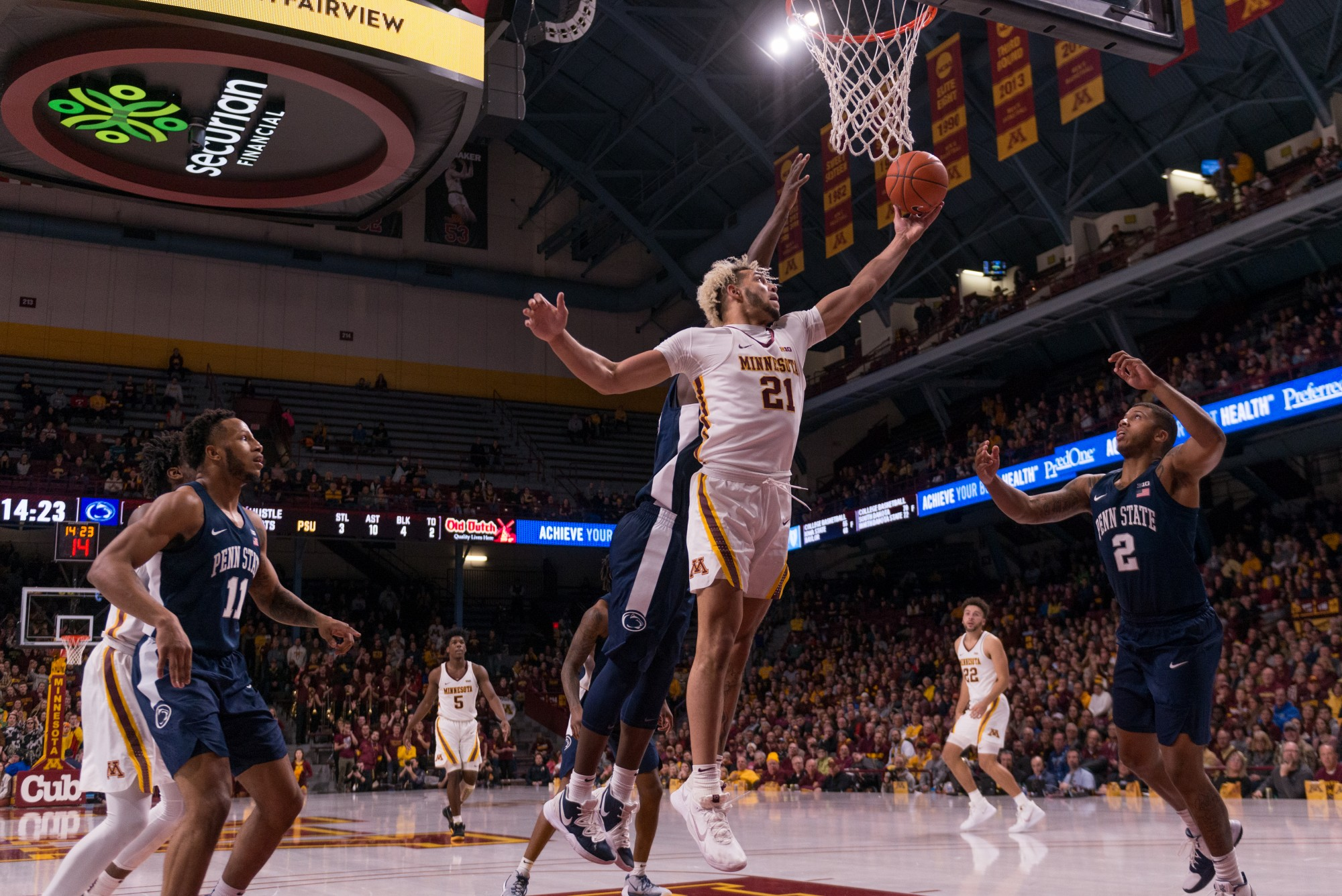 Gophers Forward Jarvis Omersa lays up the ball at Williams Arena on Wednesday, Jan. 15.  Minnesota defeated the Penn State Nittany Lions 75-69. (Kamaan Richards / Minnesota Daily)