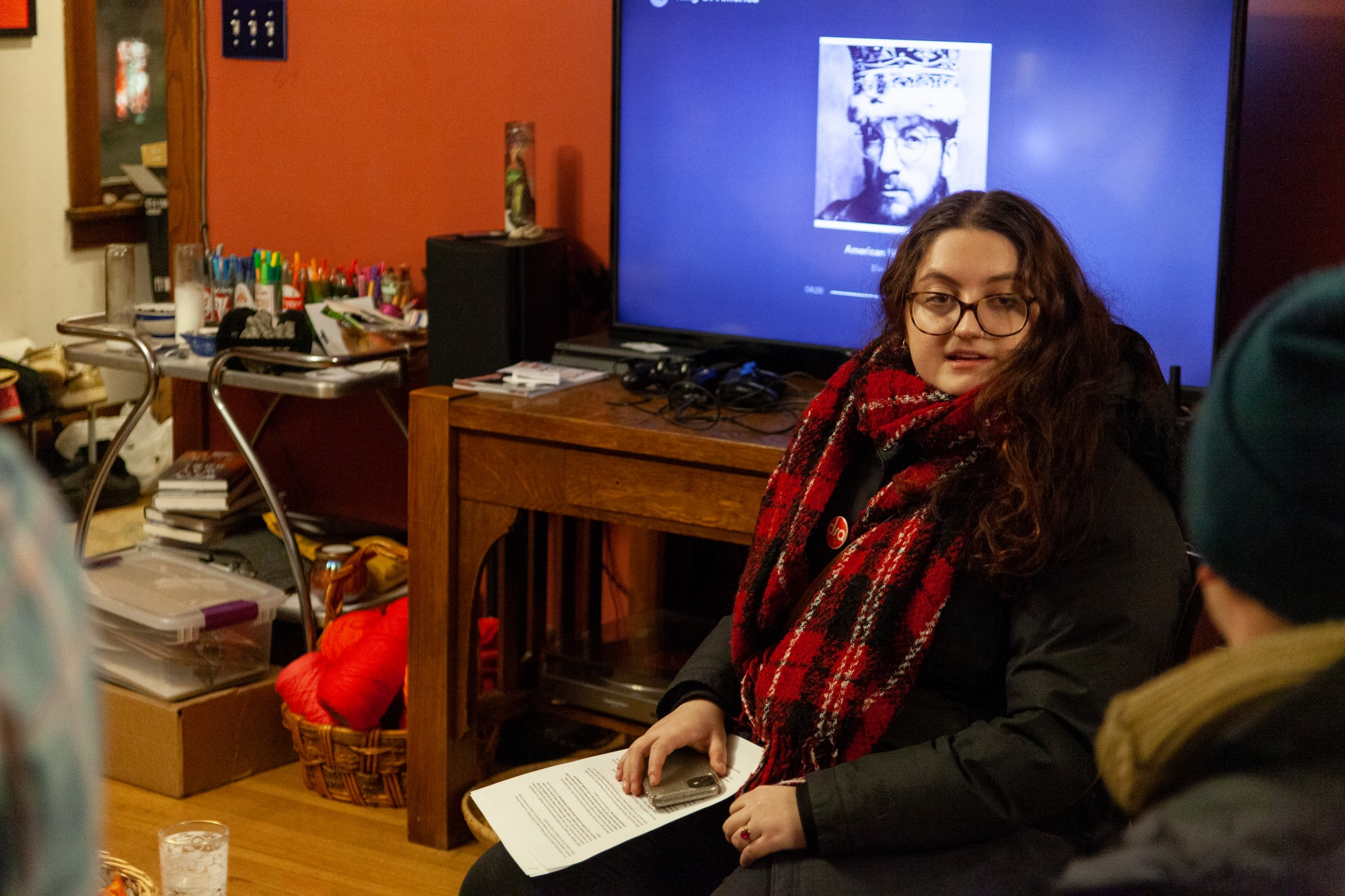 <p>Sonia Neculescu strategizes with a small group of volunteers before a door-knocking session in Northeast Minneapolis on Thursday, Jan. 16. Neculescu is on the ballot for Minnesota House District 60A. </p>