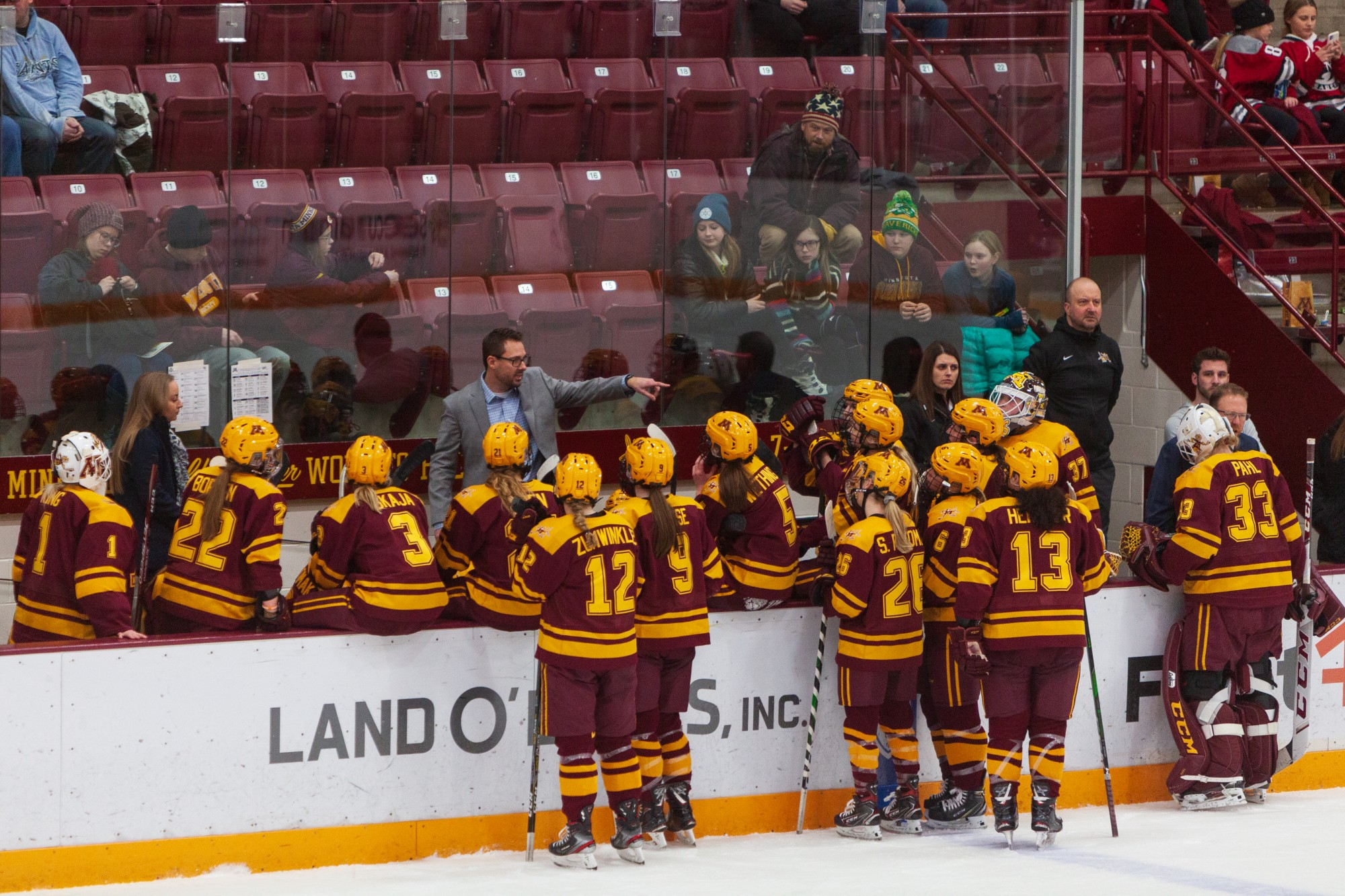 Gophers Head Coach Brad Frost addresses the team during a timeout at Ridder Arena on Friday, Jan. 17.  Minnesota suffered a 1-4 loss to Ohio State. (Kamaan Richards / Minnesota Daily)