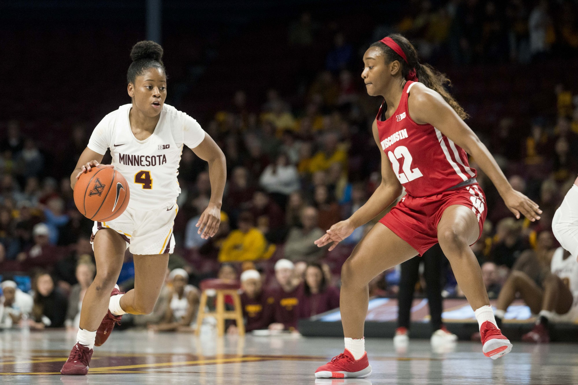 Guard Jasmine Powell brings the ball up the court at Williams Arena on Wednesday, Jan. 22. The Gophers were defeated by Wisconsin 72-62.