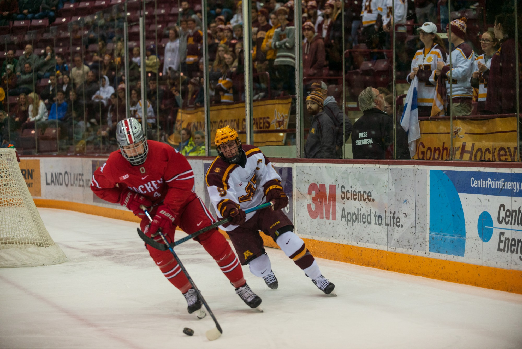 Gophers Forward Sammy Walker pursues a defender at 3M Arena at Mariucci on Friday, Jan. 24, 2020. The Gophers ended the night with a 6-3 victory over Ohio State.