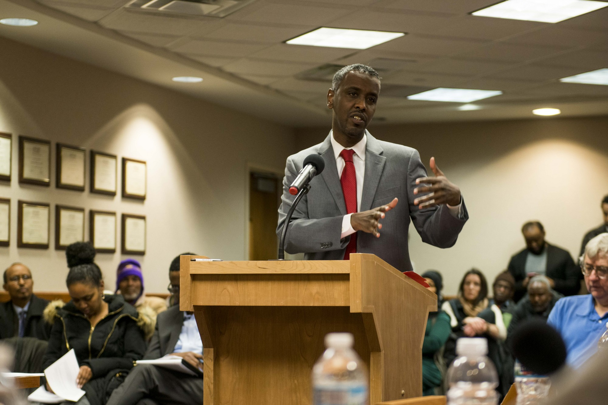 Minneapolis City Council Member Abdi Warsame addresses the Minneapolis Public Housing Authority on Wednesday, Jan. 29. Warsame was selected as the next executive director and CEO for the MPHA.