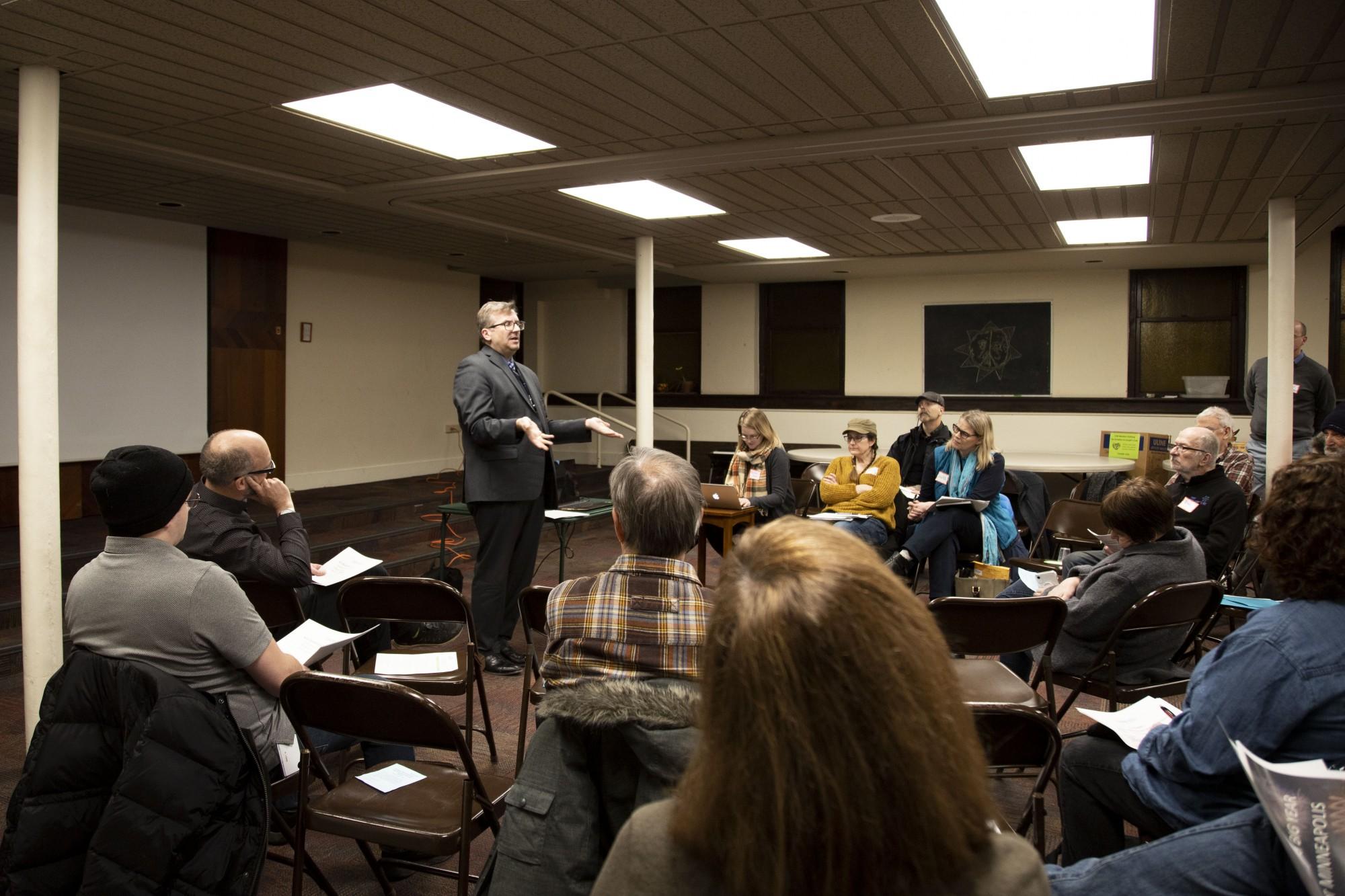 City Clerk Casey Carl visits the Prospect Park board meeting on Monday, Jan. 27.