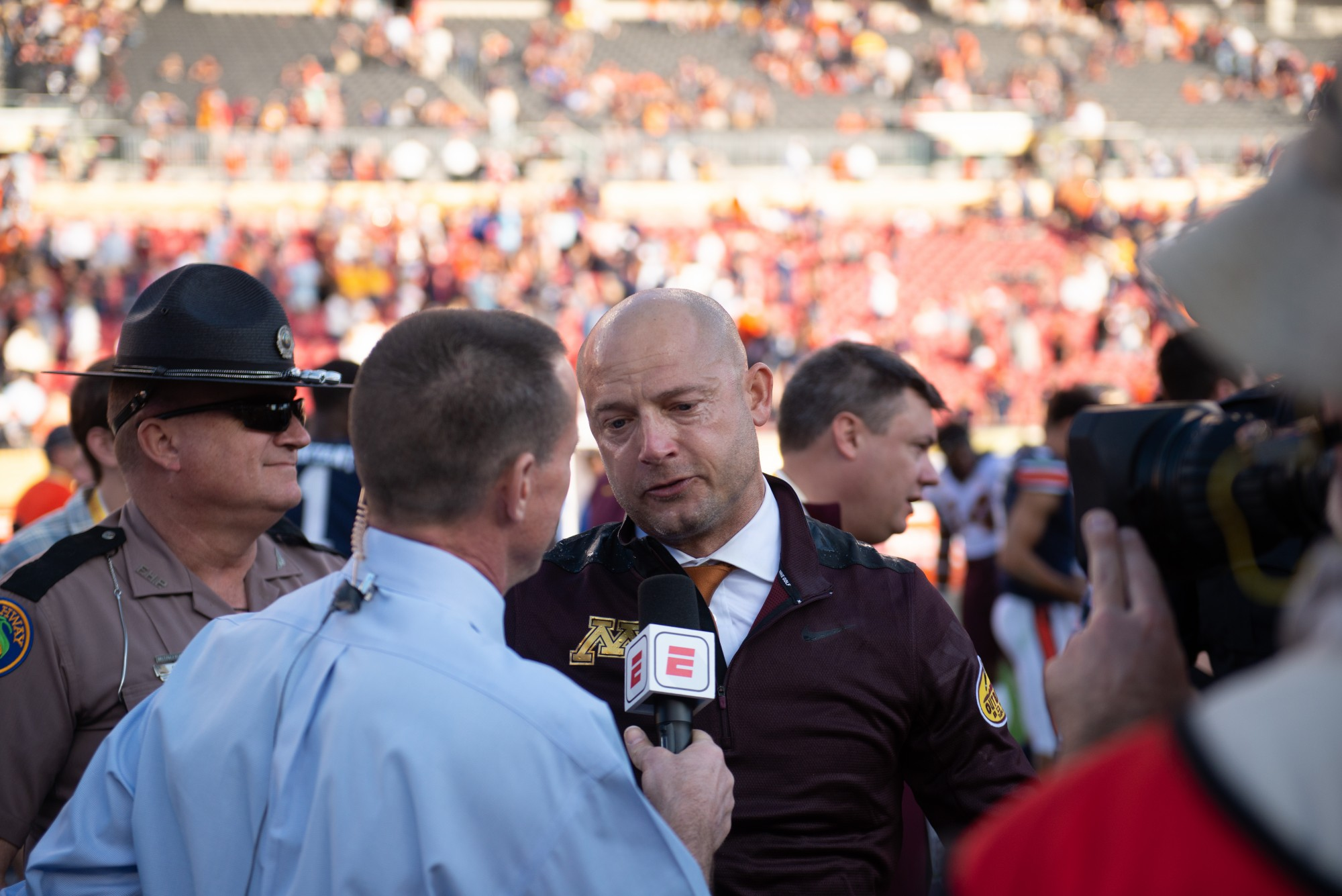 Gophers Head Coach P.J. Fleck talks to reporters after the game at Raymond James Stadium in Tampa, Florida on Wednesday, Jan. 1. Minnesota took the bowl game with a 31-24 win over the Auburn Tigers. (Kamaan Richards / Minnesota Daily)