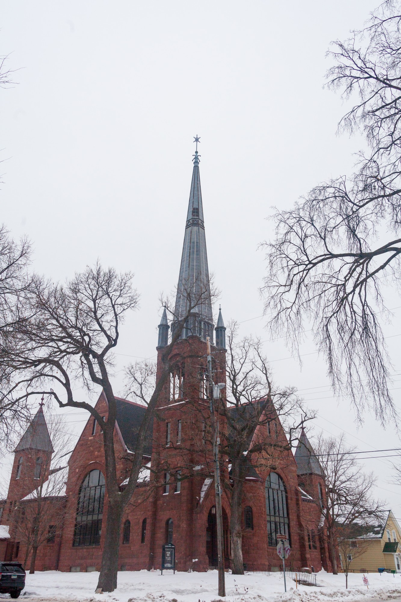 The First Congregational Church is nestled between single family residences in the Marcy Holmes neighborhood on Tuesday, Jan. 28.  The neighborhood provides housing for a significant number of University students.