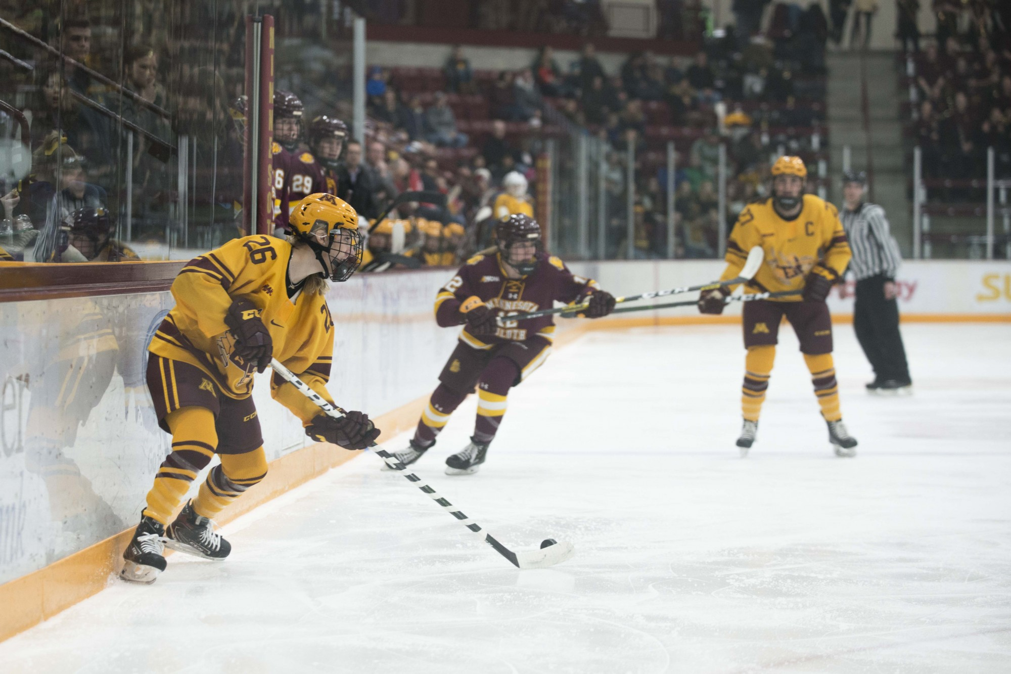 Forward Sarah Potomak looks to pass the puck at Ridder Arena on Saturday, Feb. 1. The Gophers lost to Minnesota Duluth 0-2.