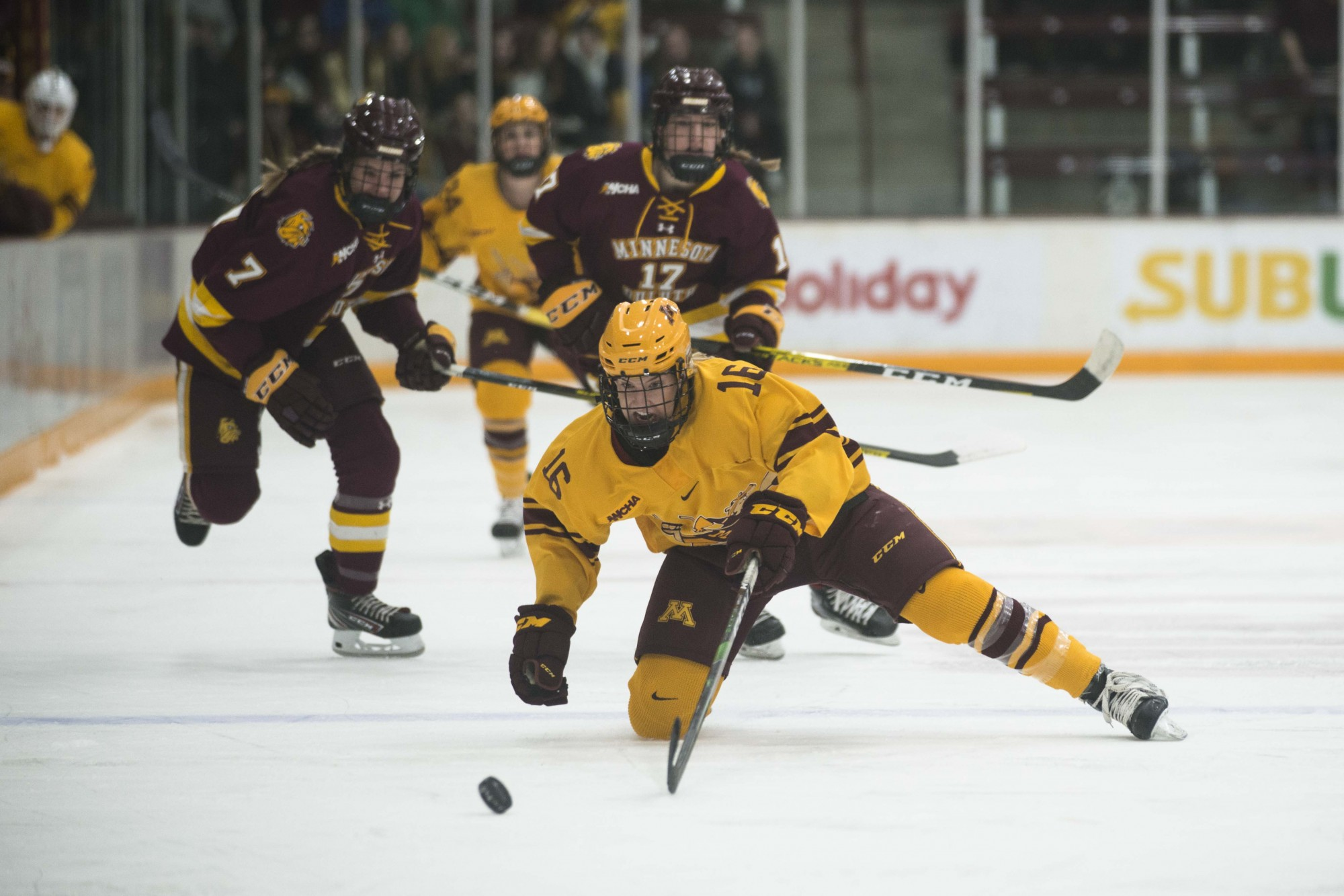Forward Amy Potomak lunges for the puck at Ridder Arena on Saturday, Feb. 1. The Gophers lost to Minnesota Duluth 0-2.