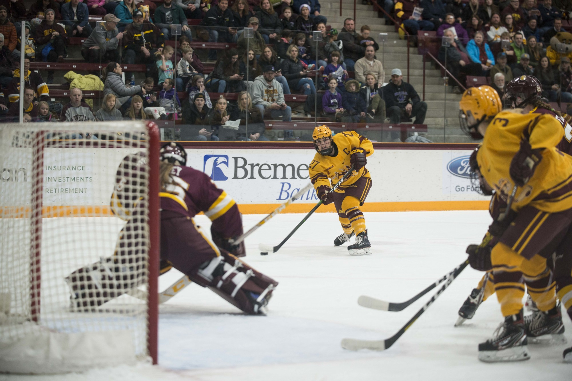 Defender Patti Marshall takes a shot on net at Ridder Arena on Saturday, Feb. 1. The Gophers lost to Minnesota Duluth 0-2.