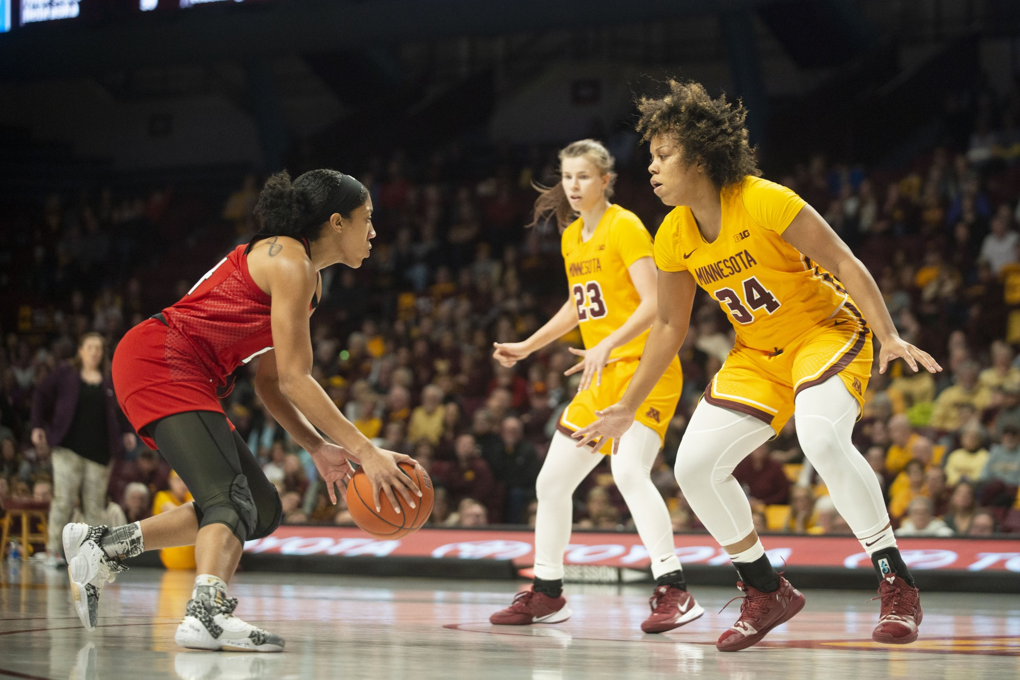 Guard Gadiva Hubbard squares up on defense at Williams Arena on Sunday, Feb. 2. The Gophers won in overtime 73-71.