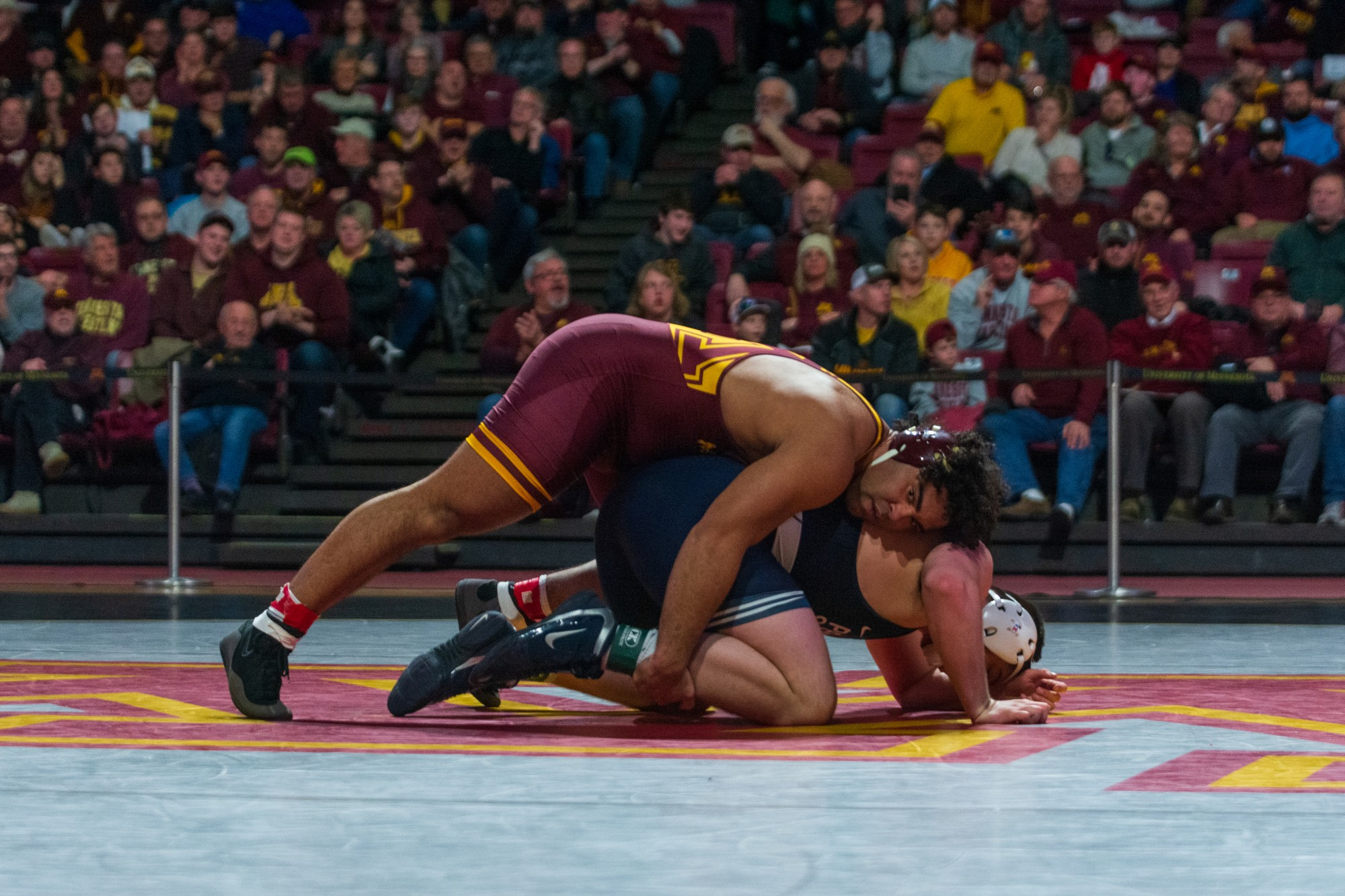 Gable Steveson grapples with his opponent at Maturi Pavilion on Sunday, Feb. 9, 2019. The Gophers lost to Penn State 31-10.