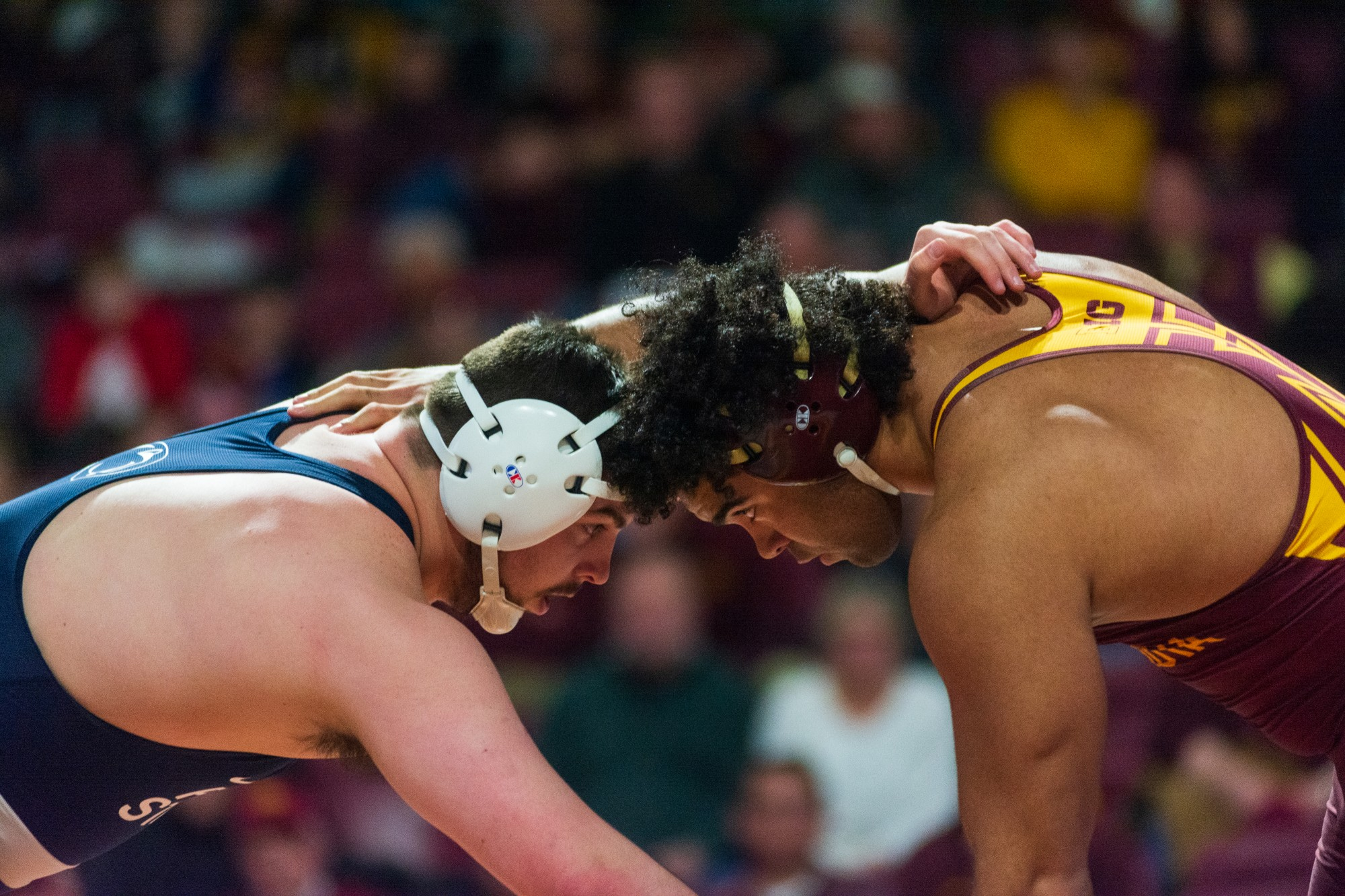 Gophers Sophomore Gable Steveson faces off with his opponent at Maturi Pavilion on Sunday, Feb. 9. The Gophers lost to Penn State 31-10.
