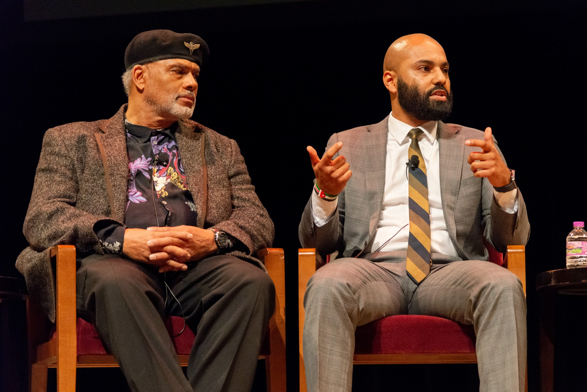 """Panelists John Wright, left, and Abdul Omari discuss the """"This Free North"""" documentary at Northrop Auditorium on Tuesday, Feb. 18. The event included a documentary premiere and a discussion about black history at the University of Minnesota."""