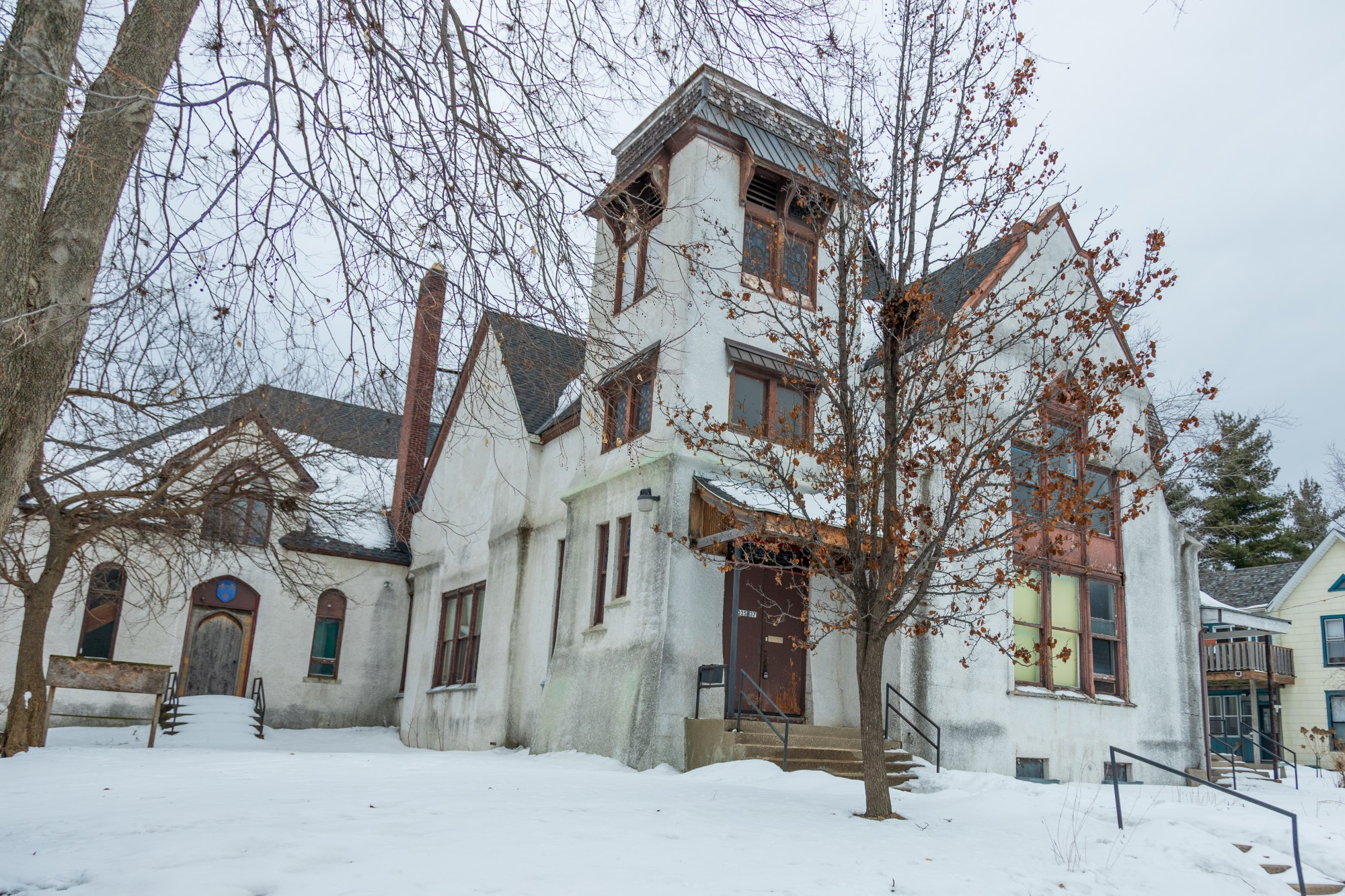 The Como Congregational Church stands amid freshly-fallen snow on Monday, Feb. 17.  The historic site faces the potential of being developed into an apartment building.