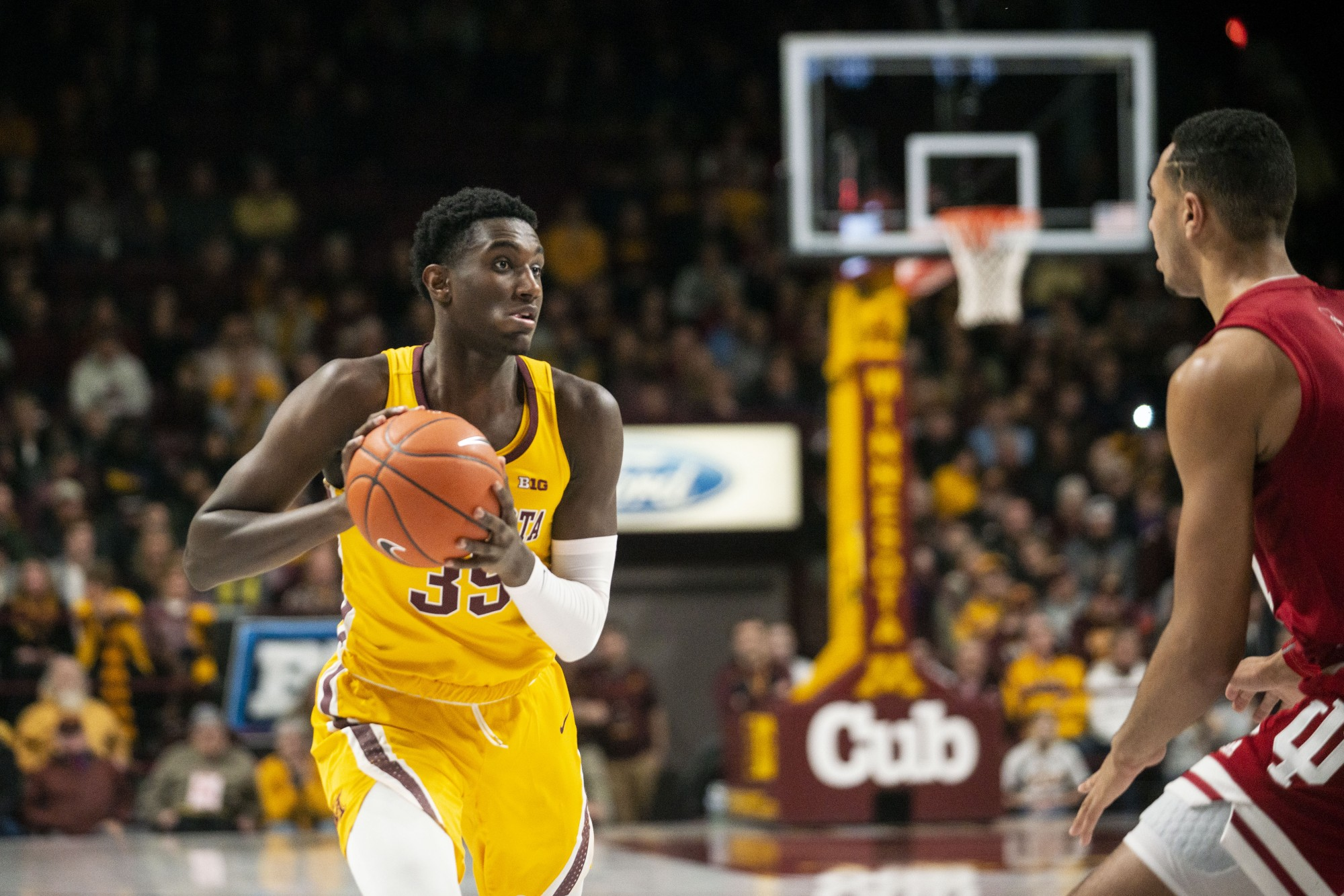 Freshman Isaiah Ihnen looks to pass the ball at Williams Arena on Wednesday, Feb 19.