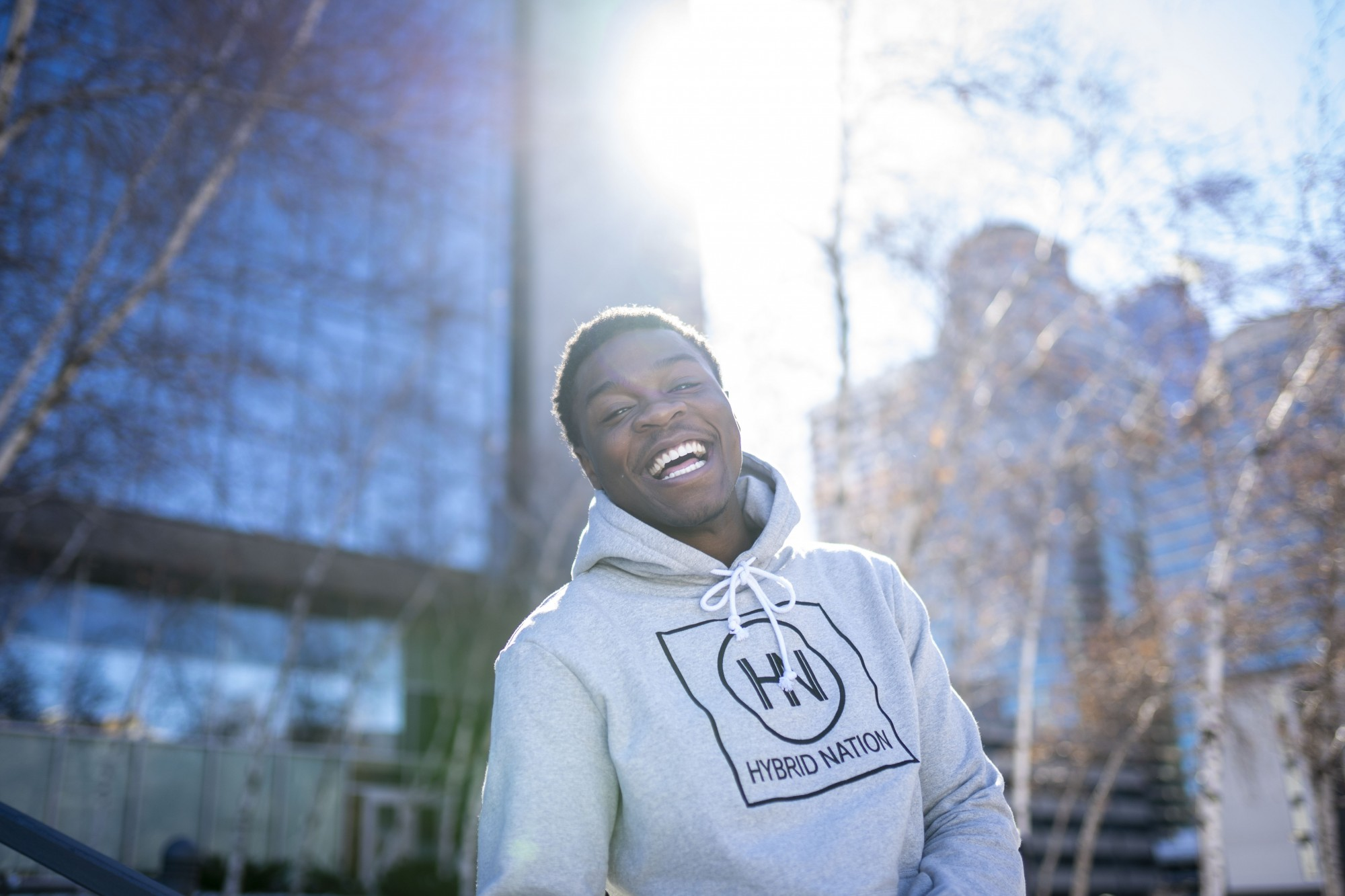 Local artist Bayo poses for a portrait in downtown Minneapolis on Sunday, Feb. 23.
