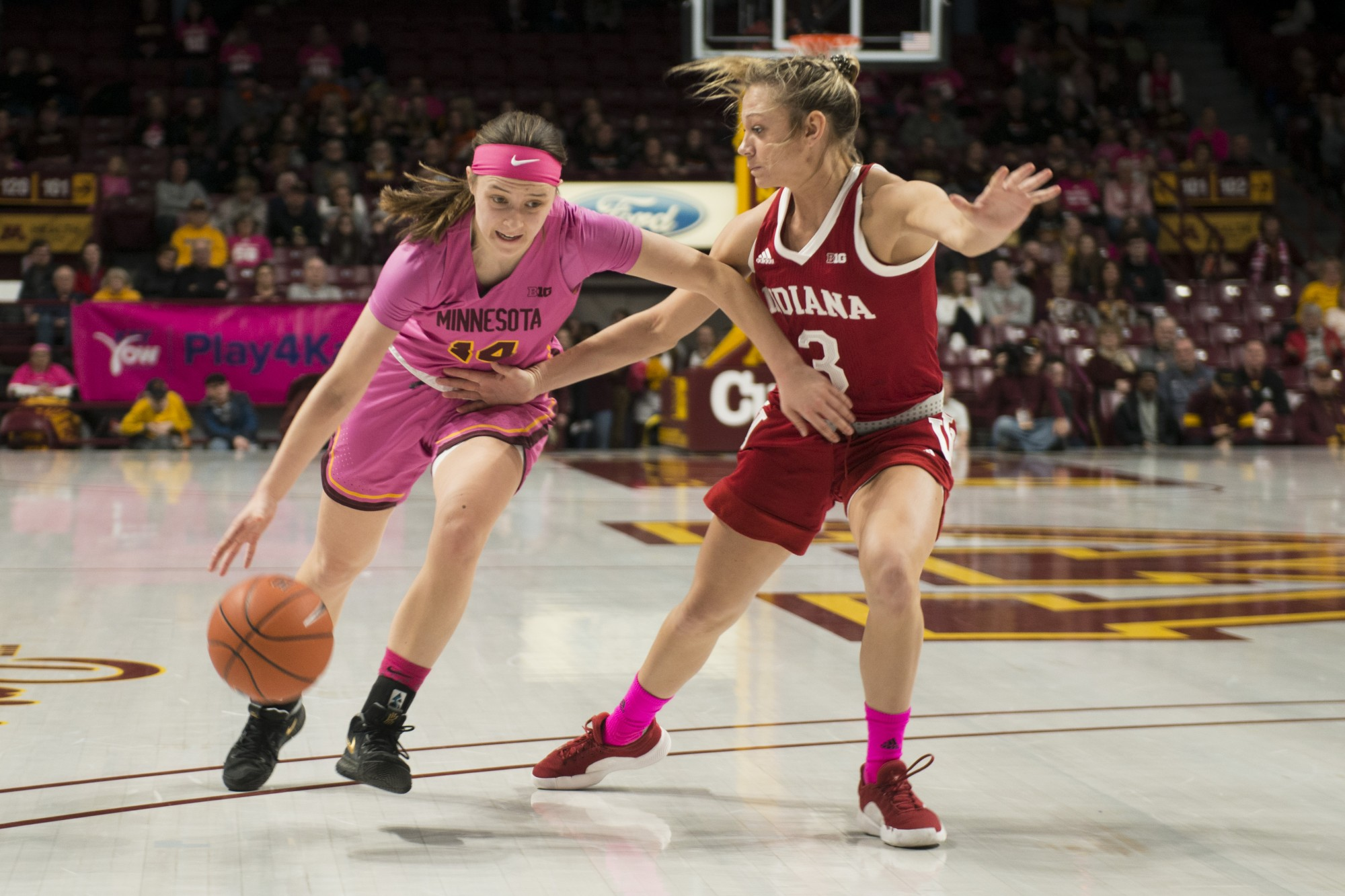 Guard Sara Scalia drives towards the basket in the second quarter of the Gophers' 75-69 loss to Indiana 75-69 at Williams Arena on Saturday, Feb. 22.