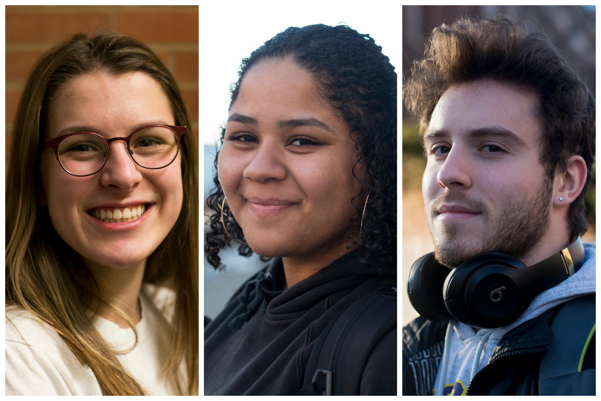 From left, Meghan Cahill, Neesha Moore, Jack Kappel pose for portraits on Monday, Feb. 24.