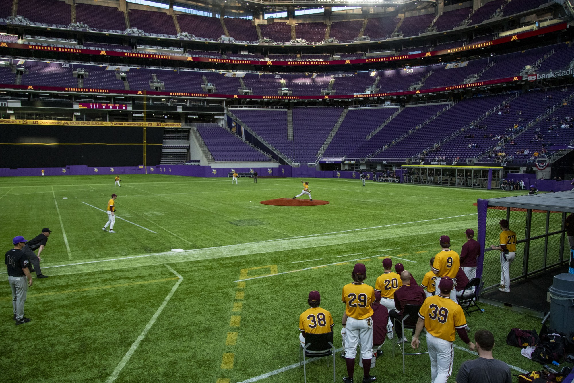 The Gophers watch from the sidelines during their 7-6 win against Texas Christian University at U.S. Bank Stadium on Saturday, Feb. 23.