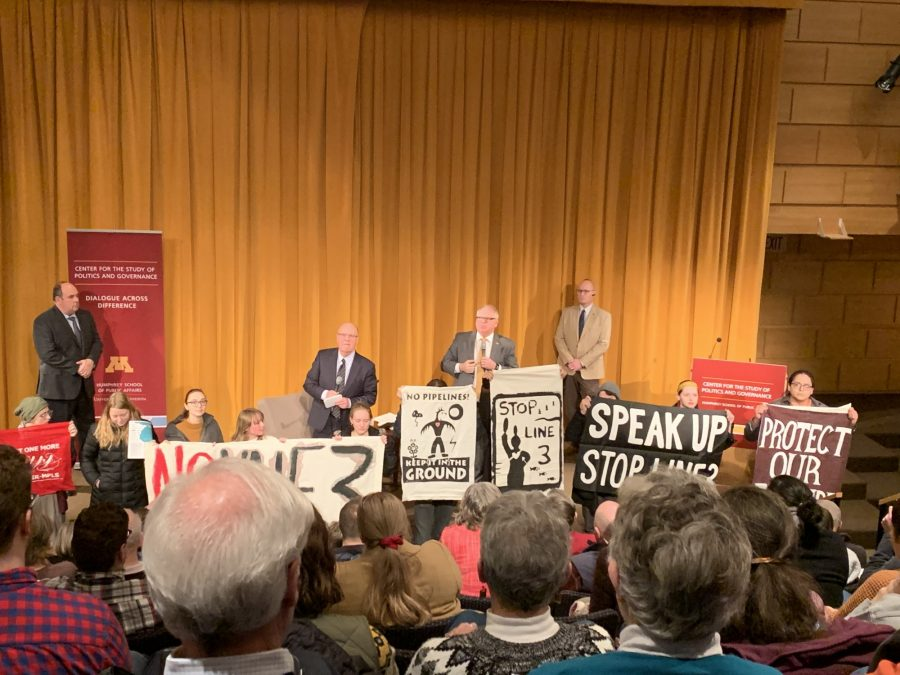 Gov. Tim Walz speaks at the University of Minnesota on Friday, Feb. 21.