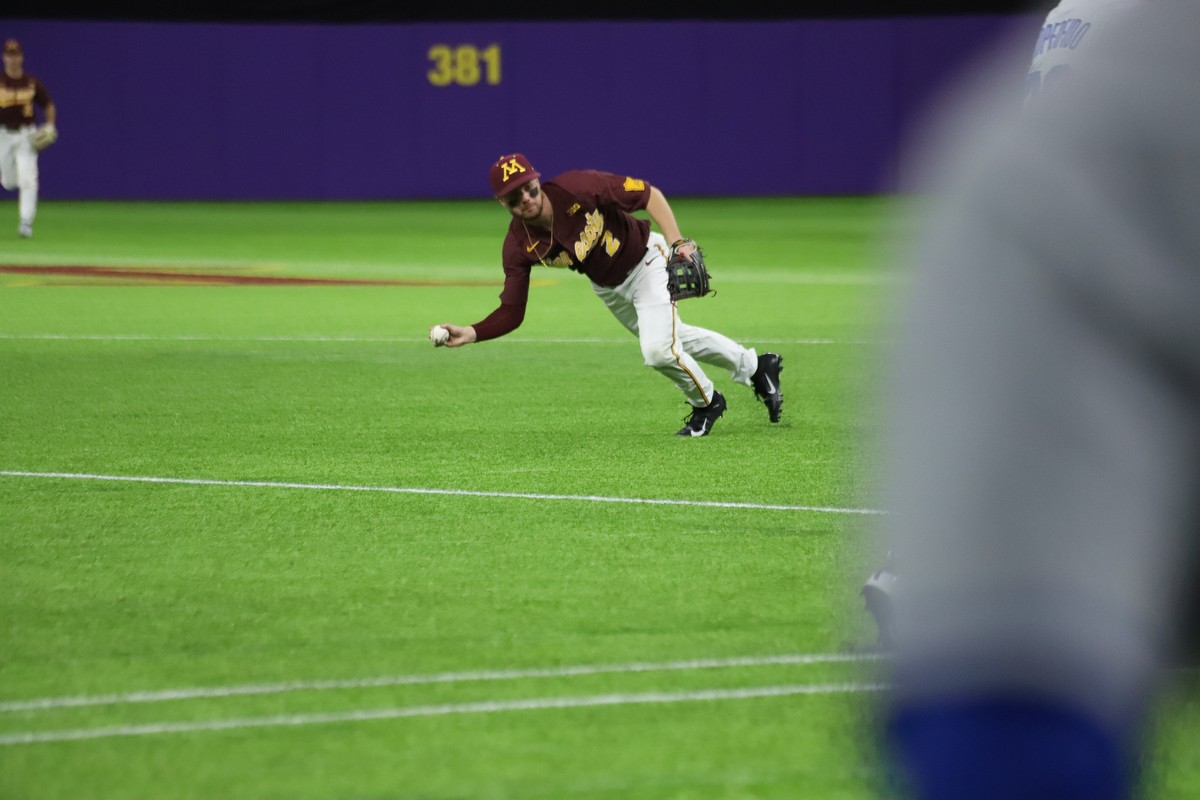 Gophers Infielder Zack Raabe makes a catch at U.S. Bank Stadium on Saturday, Feb. 29, 2020. The Gophers fell to Duke 3-7.