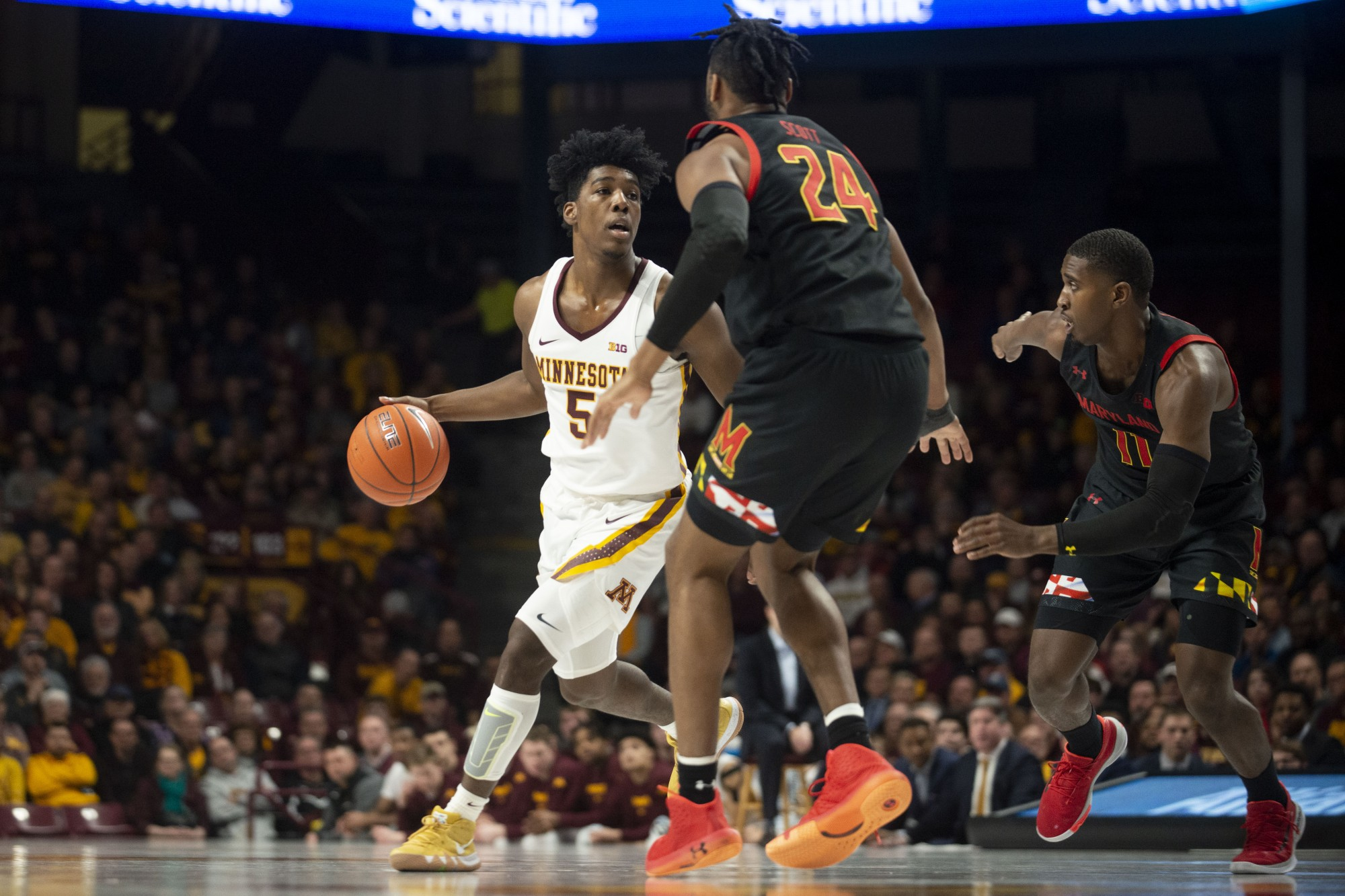 Gophers Guard Marcus Carr dribbles the ball up the court at Williams Arena on Wednesday, Feb. 26. The Gophers went into the second half with a 47-31 lead over the Maryland Terrapins.
