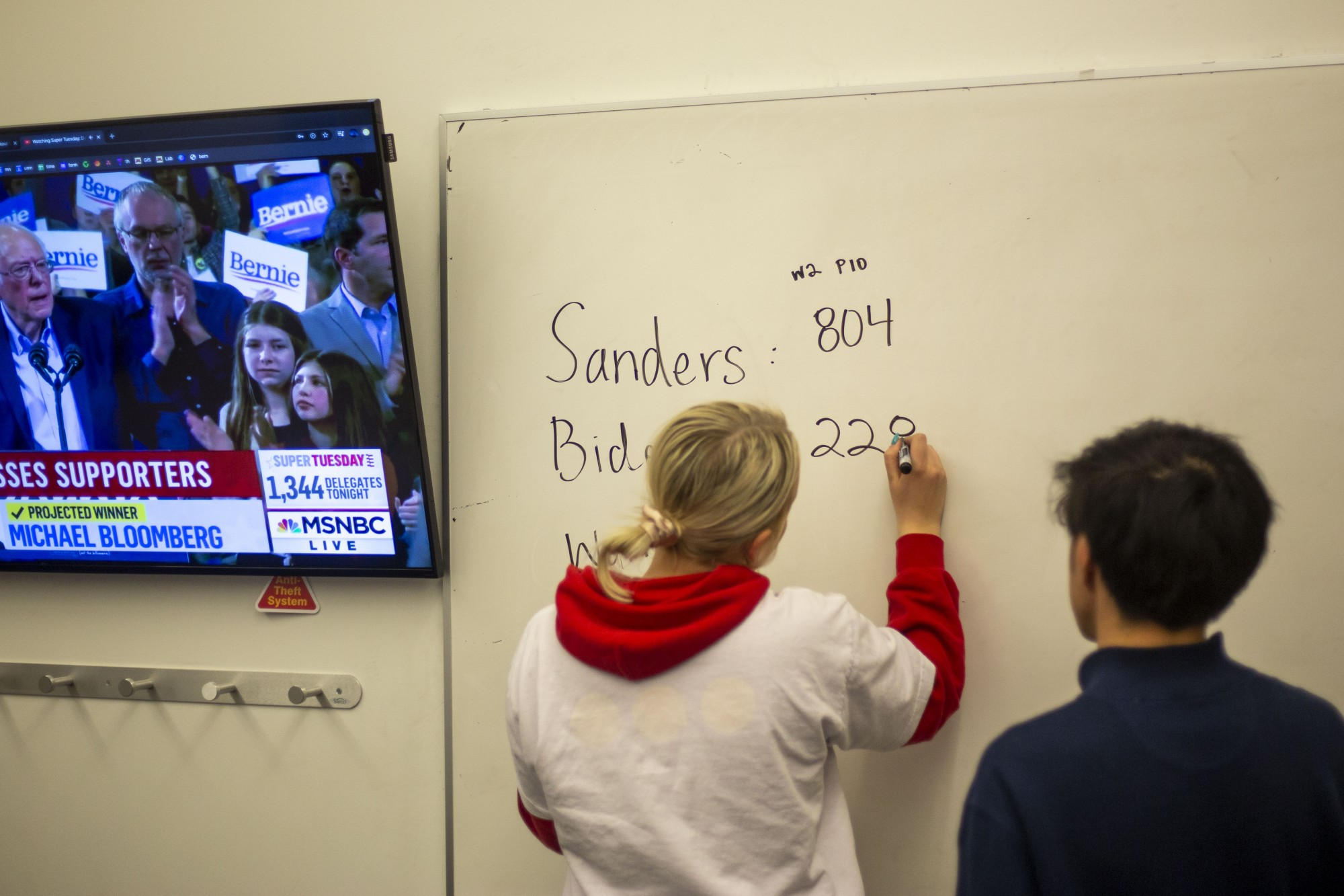 Student supporters of Bernie Sanders gather to watch the Super Tuesday primary results in Bruininks Hall on Tuesday, March 3.