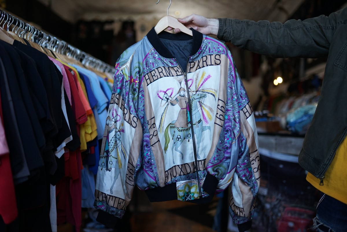 An intricately designed Vintage Hermes Paris jacket at The Cat and The Cobra thrift and Consignment store on Friday, Feb 29.