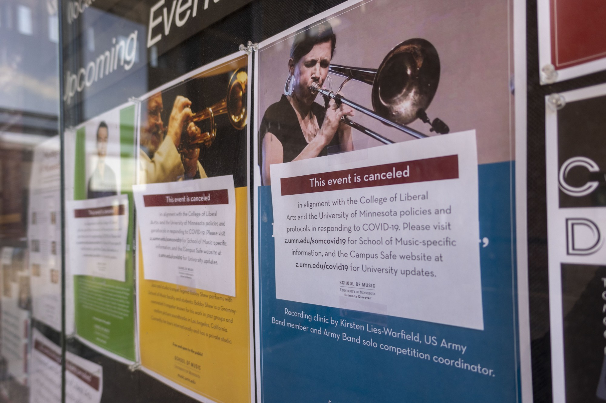 Flyers for events canceled in the wake of the Covid-19 pandemic are seen outside the Rarig Center on Saturday, March 21.