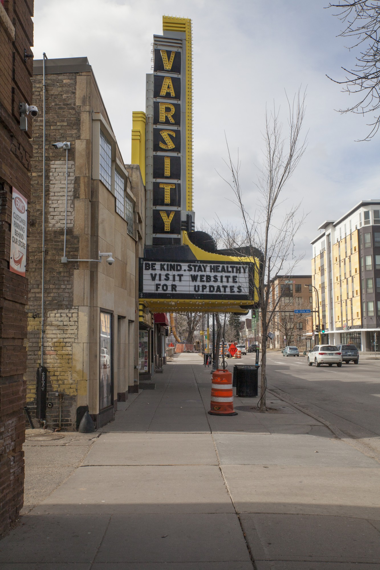 The Varsity Theater marquee delivers a hopeful message to Dinkytown on Saturday, March 21.