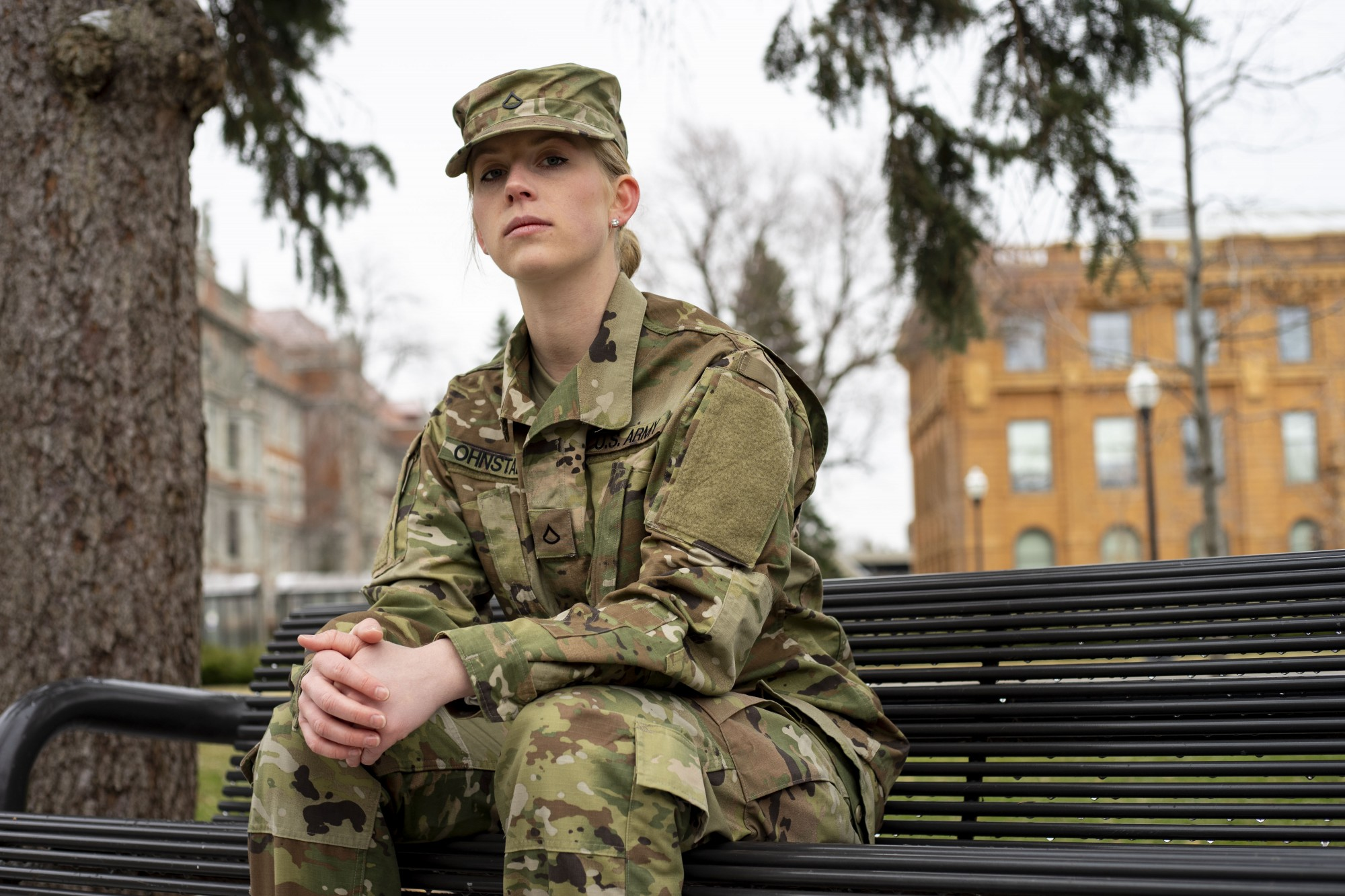 Senior Violet Ohnstad poses for a portrait on campus on Friday, April 3. Ohnstad, who enlisted in the National Guard in January, is uncertain what the next few months will look like as she prepares for basic training.