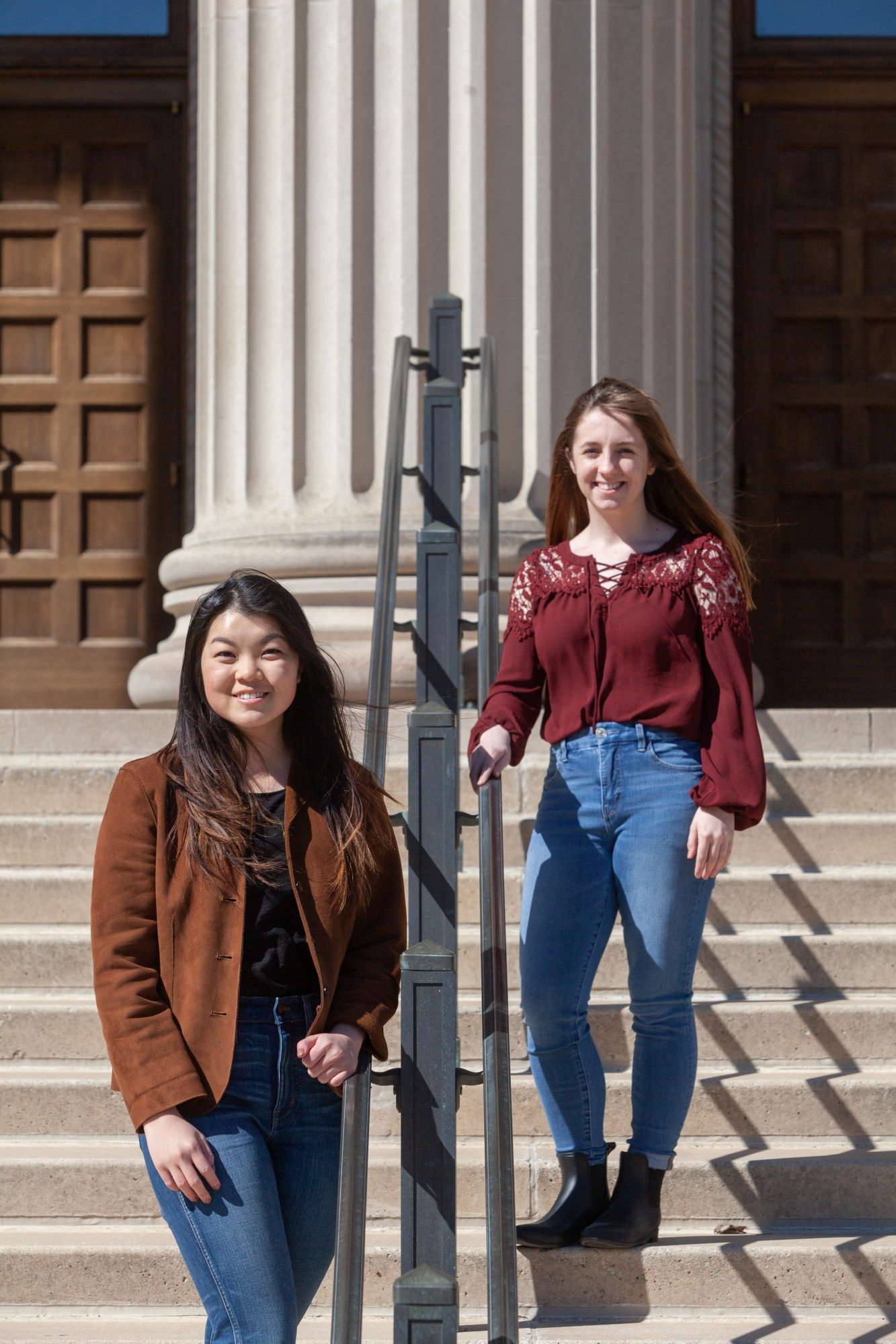From left, newly elected MSA President Amy Ma and Vice President Rebecca Cowin pose for a portrait outside of the Northrup Auditorium on Sunday, April 19.