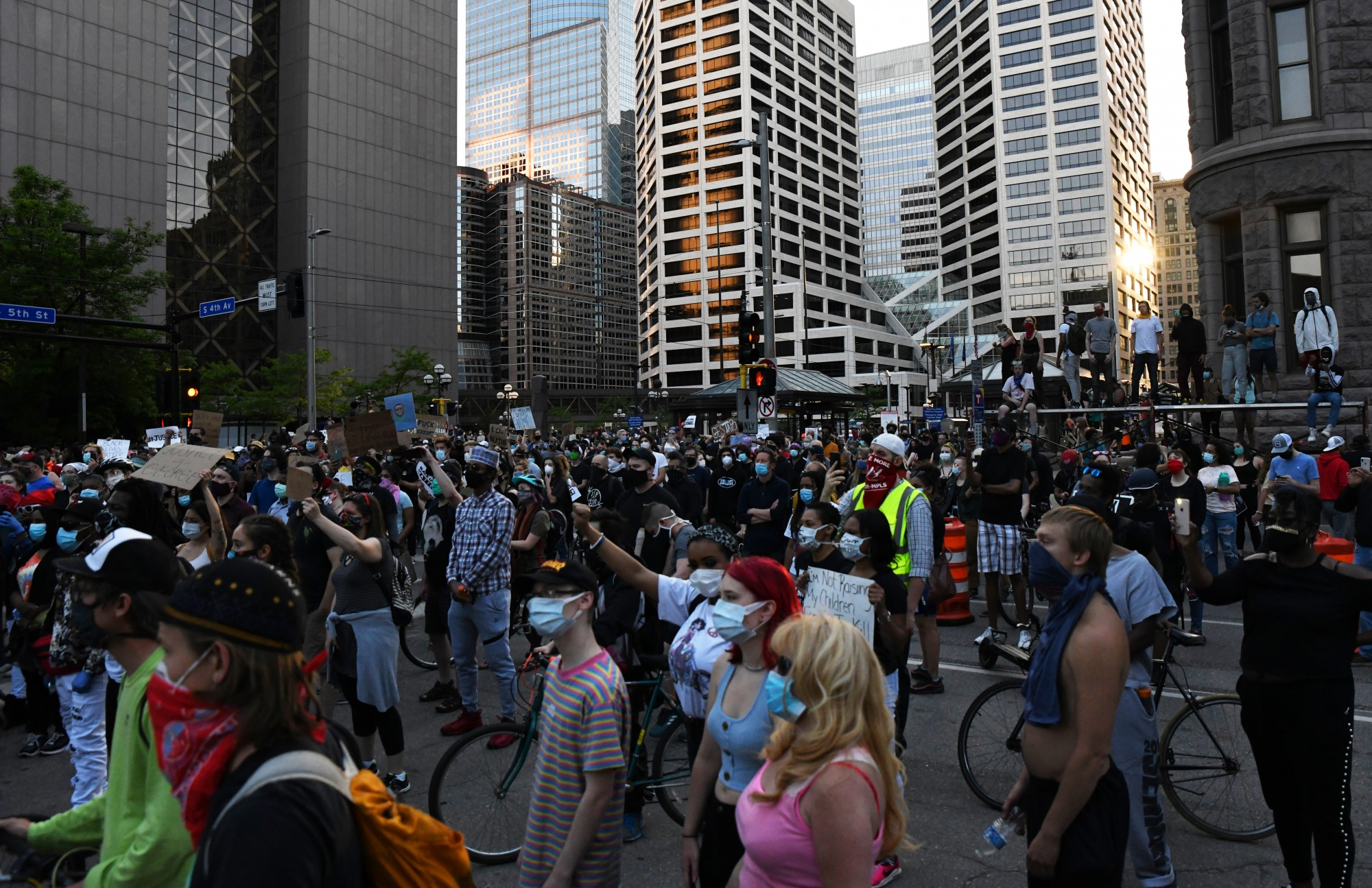 Demonstrators gather in Government Plaza in Minneapolis on Thursday, May 28.