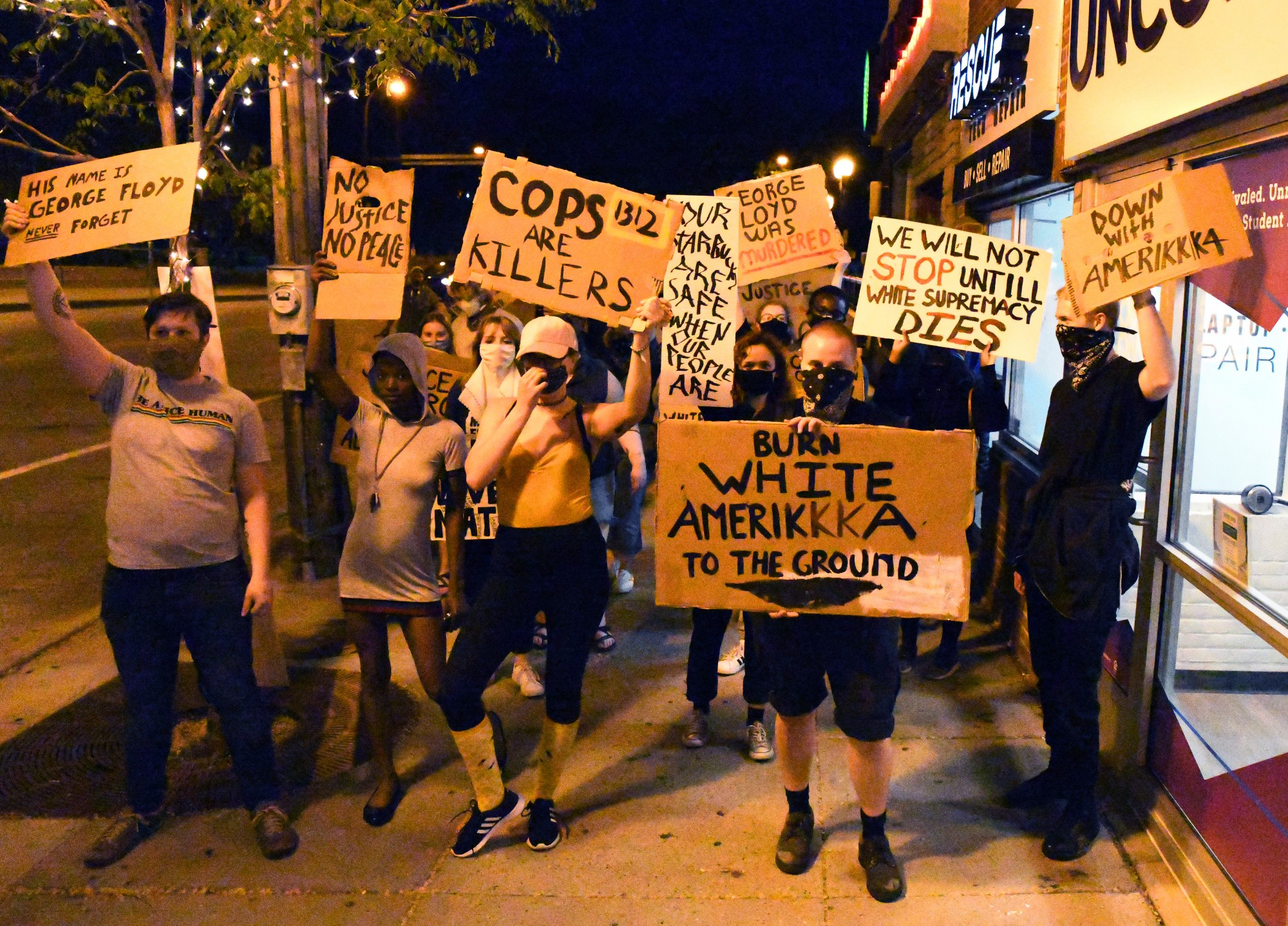Students march through Dinkytown on Thursday, May 28 to protest police brutality following the death of George Floyd on Monday in Minneapolis.