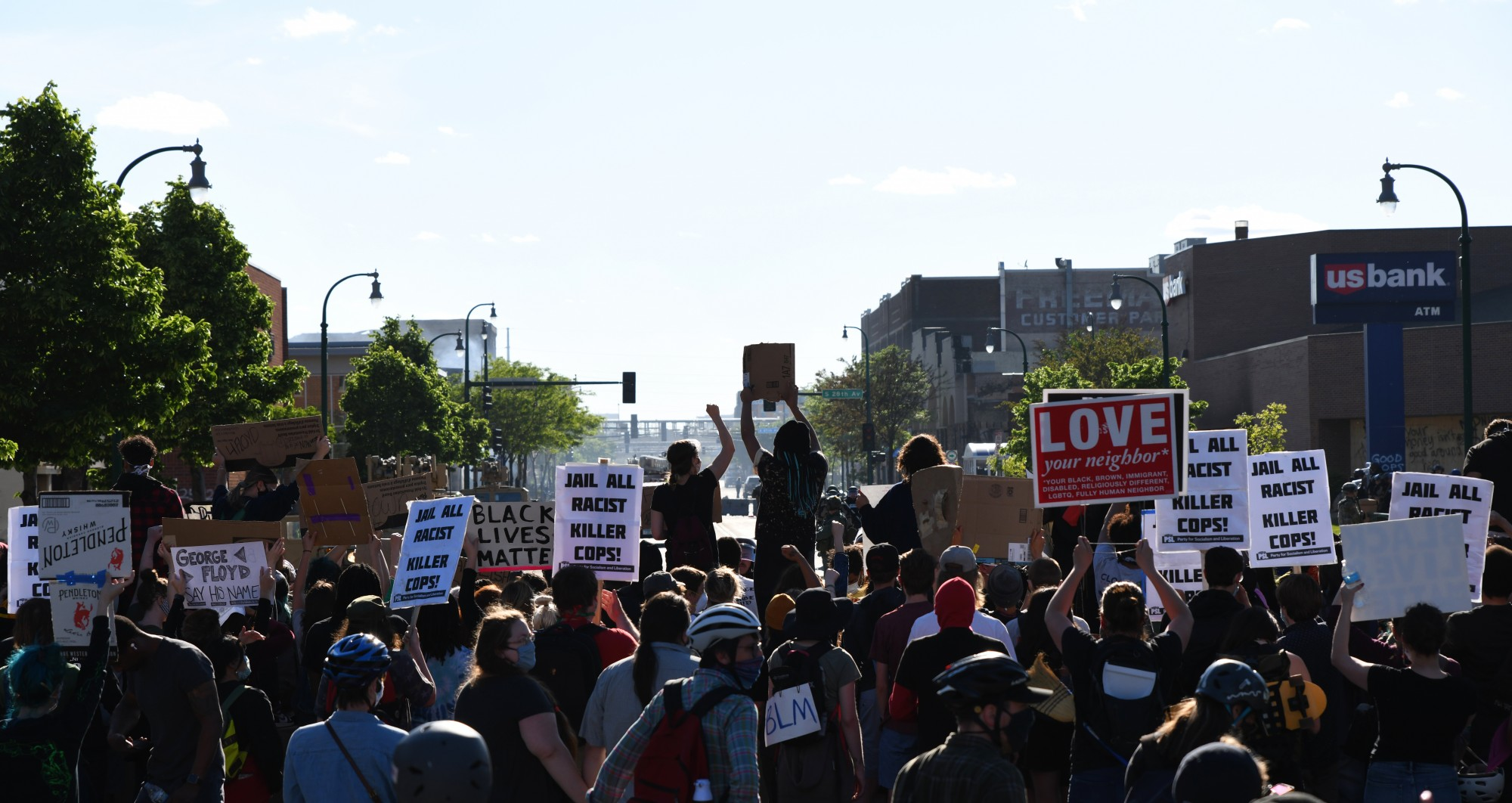 Demonstrators gather on E Lake Street near the MPD 3rd Precinct on Friday, May 29.