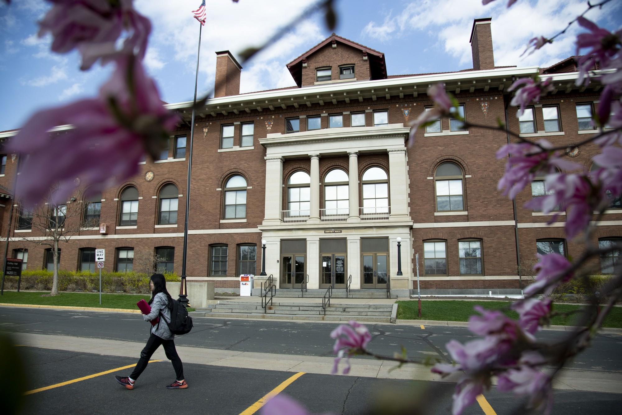 4:40 p.m. A student walks past Coffey Hall.