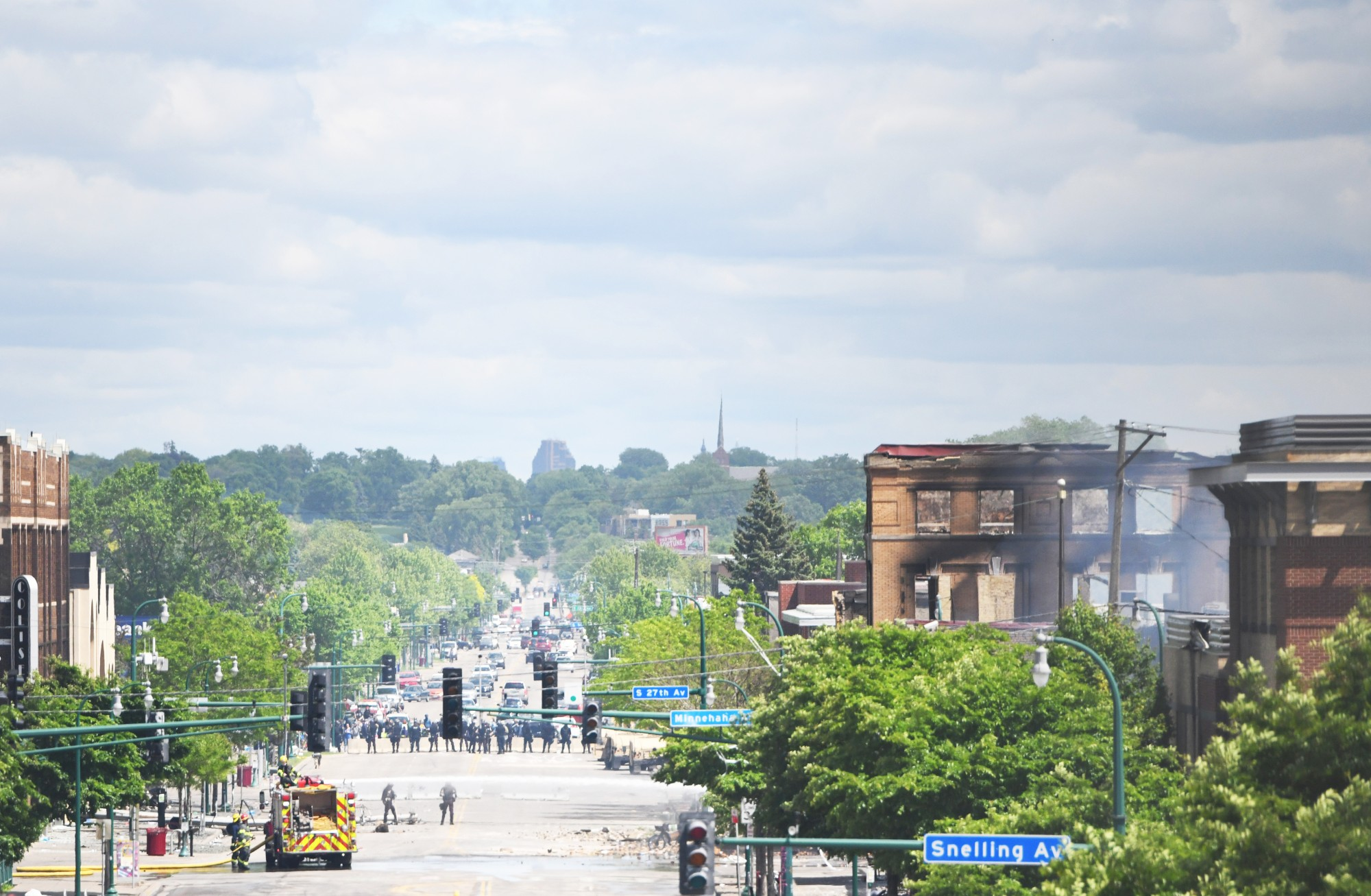 The view down Lake Street from Hiawatha Avenue near the Minneapolis 3rd Police Precinct on Friday, May 29.