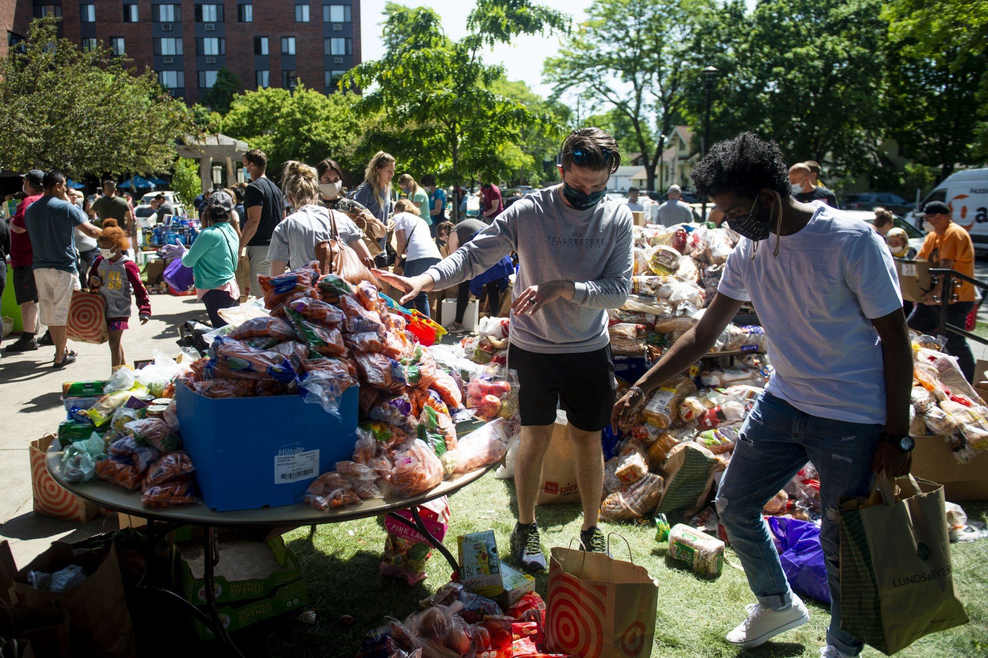 Donated goods are organized at Holy Trinity Lutheran Church on Sunday, May 31.