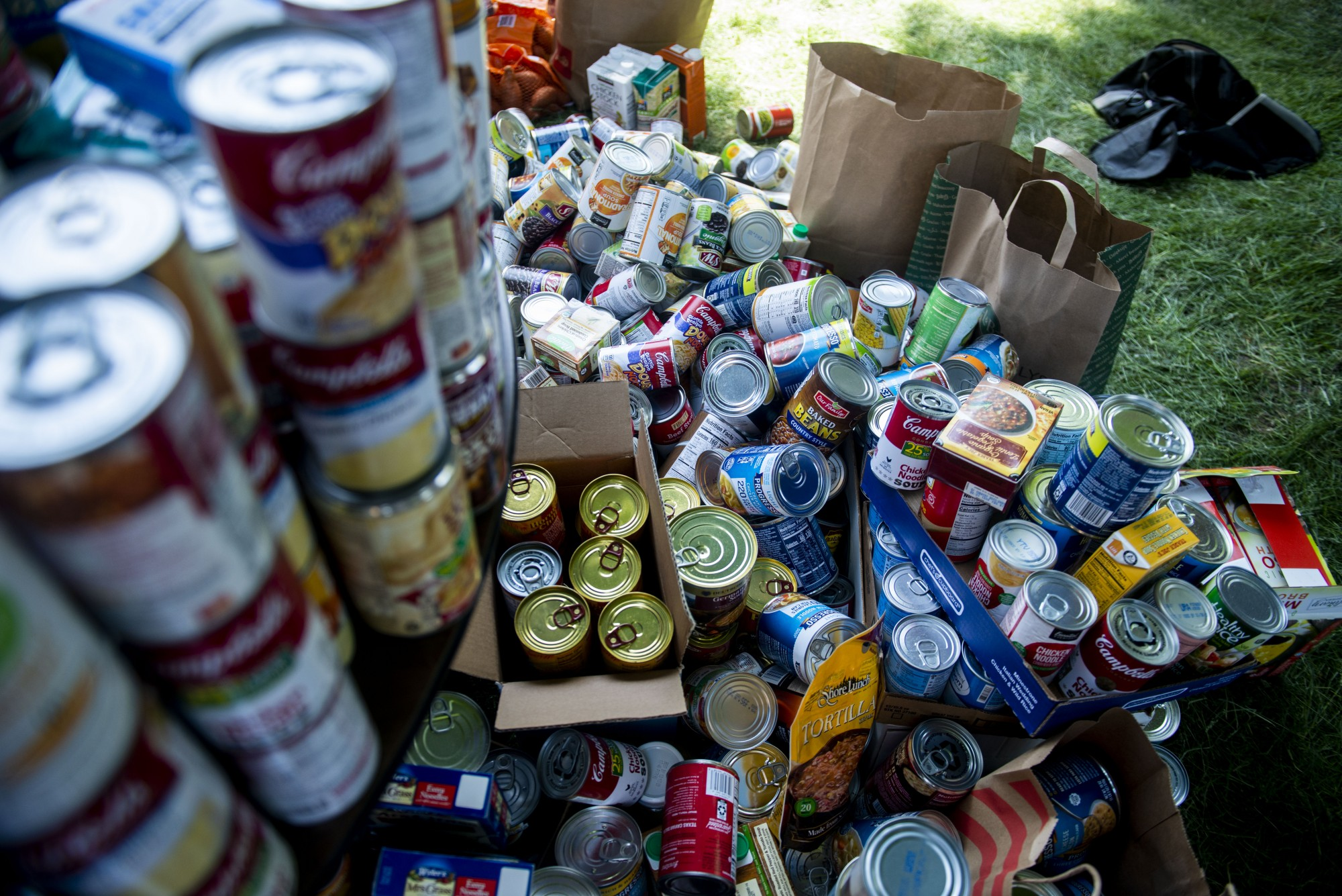 Donated goods overflow anticipated storage at Holy Trinity Lutheran Church on Sunday, May 31.