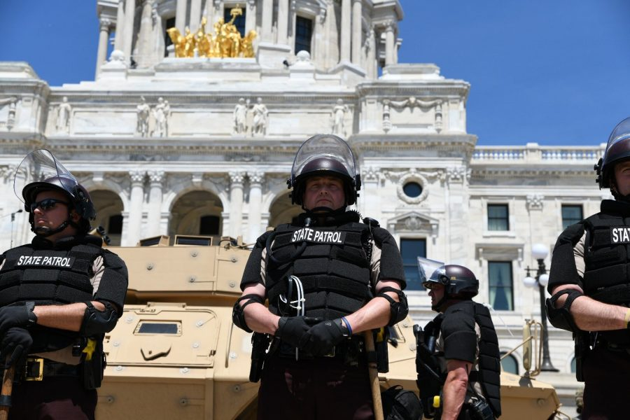 National Guard and law enforcement officers form a perimeter around the Minnesota State Capitol on Sunday, May 31.
